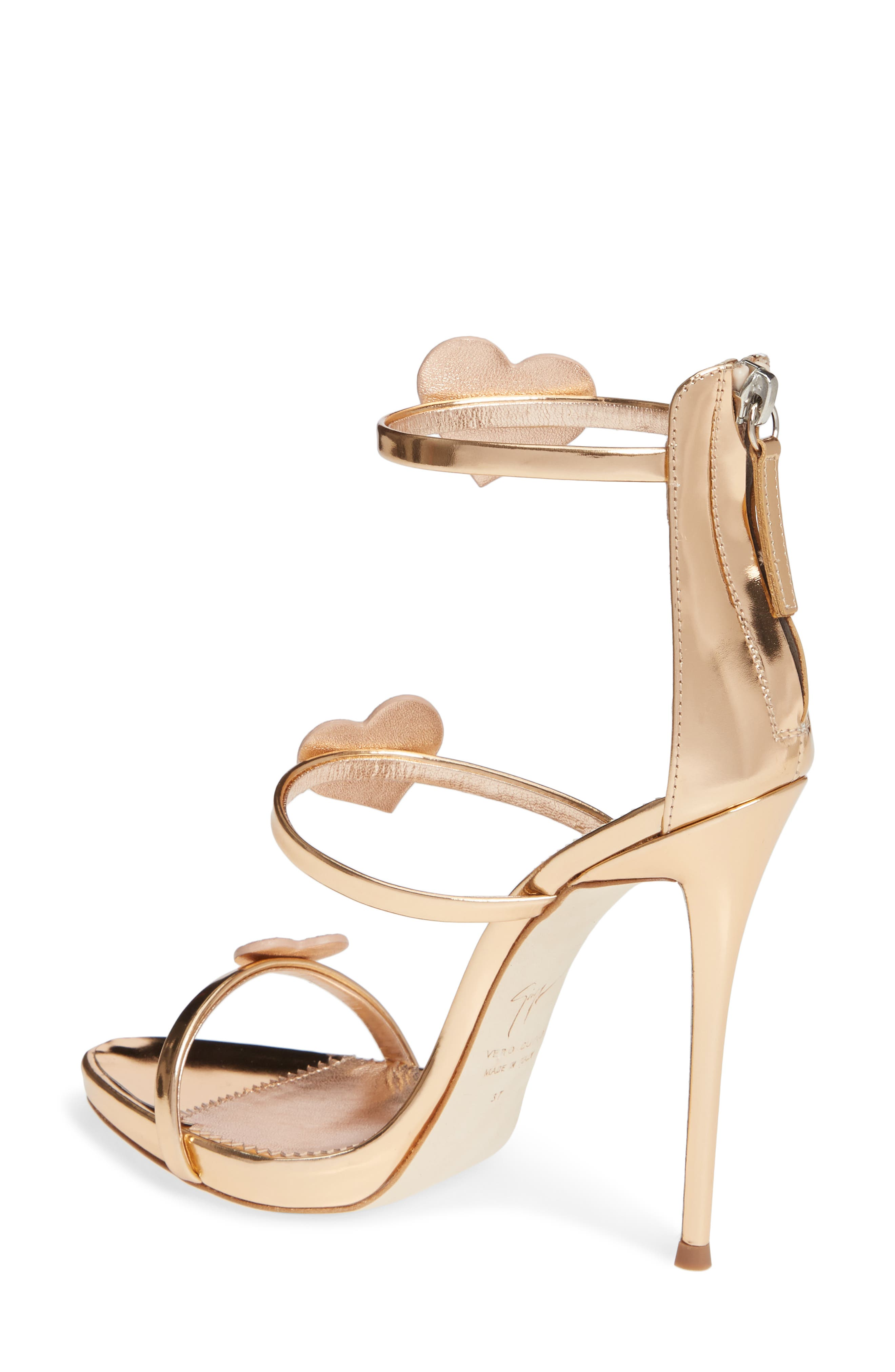 Triple Heart Strappy Sandal,                             Alternate thumbnail 2, color,                             ROSE GOLD