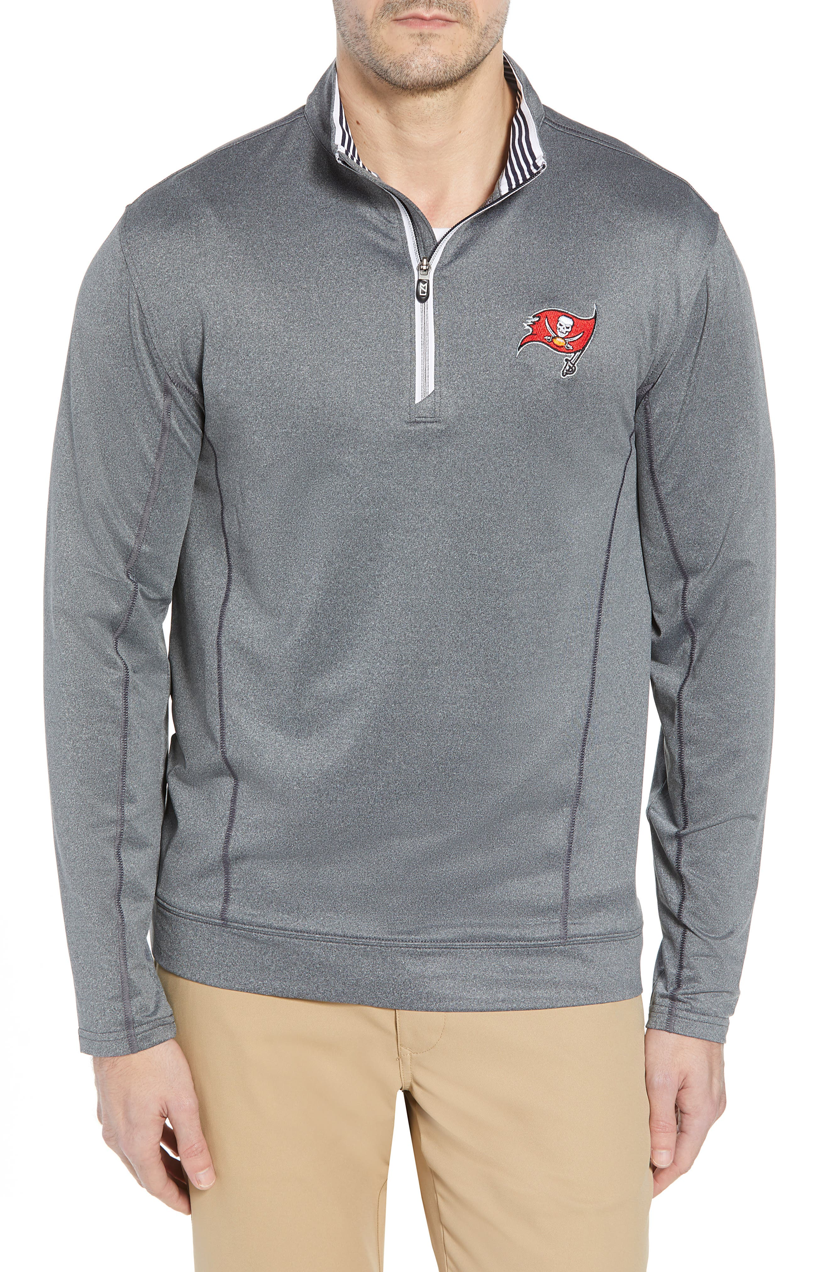 Endurance Tampa Bay Buccaneers Regular Fit Pullover,                             Main thumbnail 1, color,                             CHARCOAL HEATHER