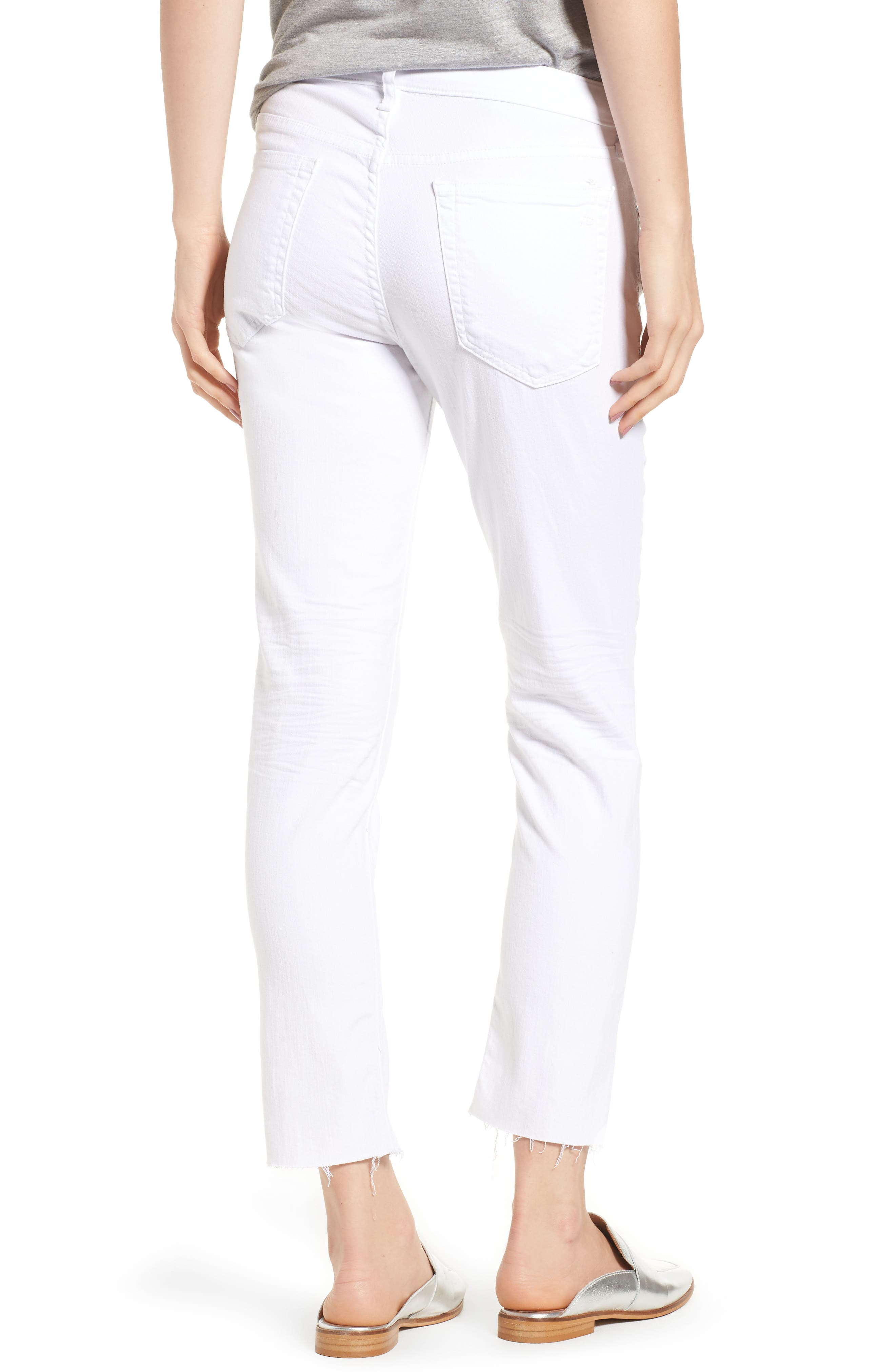 The Dre Ankle Slim Boyfriend Jeans,                             Alternate thumbnail 2, color,                             WHITE