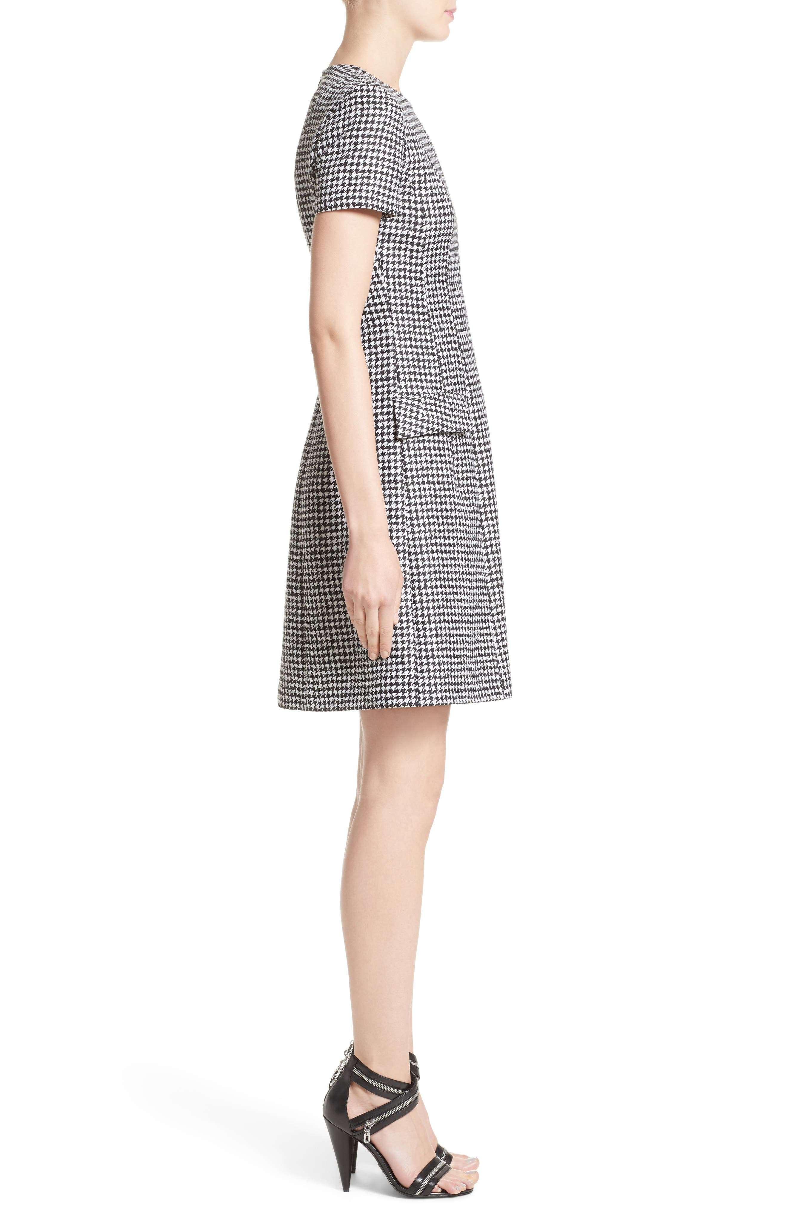 Houndstooth Wool Jacquard A-Line Dress,                             Alternate thumbnail 3, color,                             003