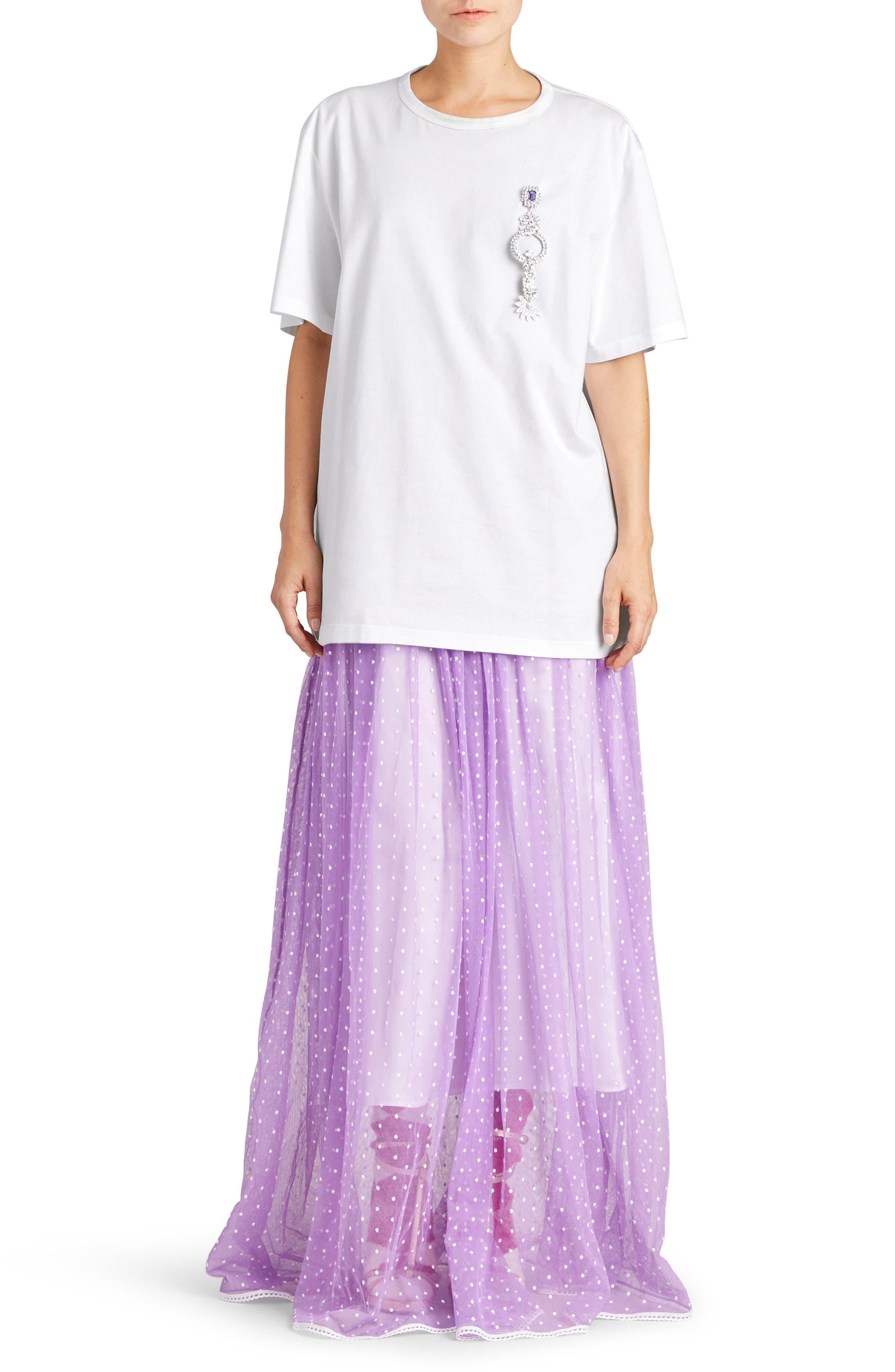 Flocked Tulle Maxi Skirt,                             Alternate thumbnail 5, color,                             520