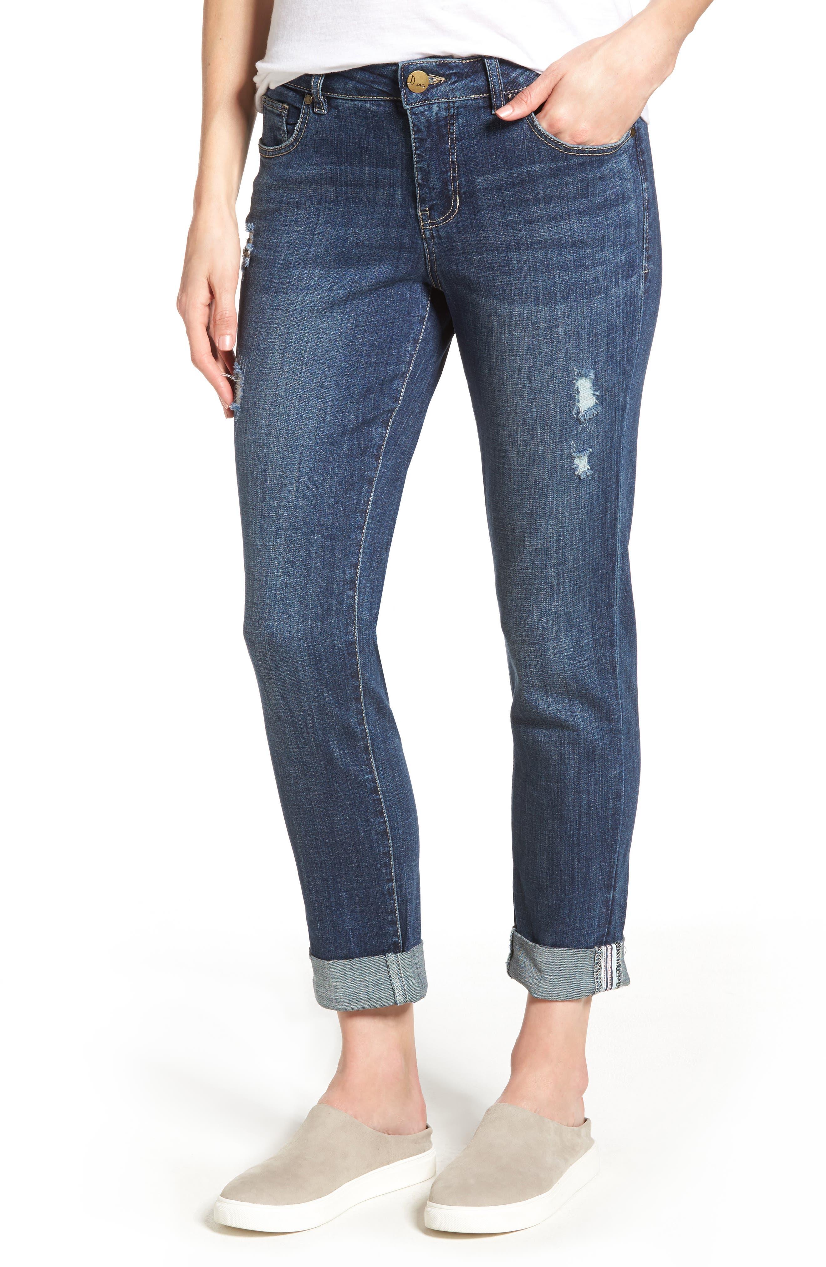Carter Cuffed Stretch Girlfriend Jeans,                         Main,                         color, MEDIUM INDIGO