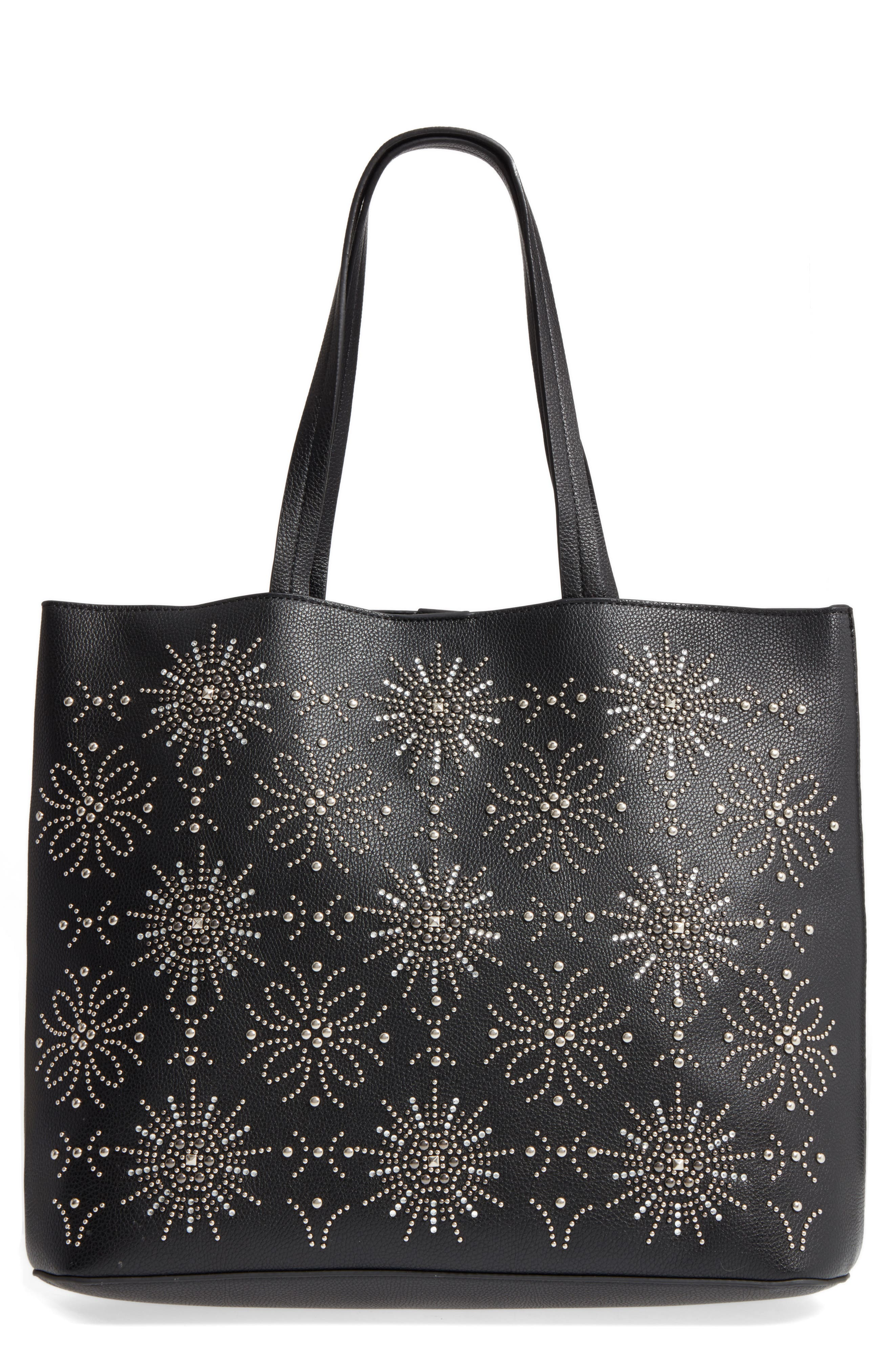 Starburst Faux Leather Tote & Zip Pouch,                             Main thumbnail 1, color,                             001