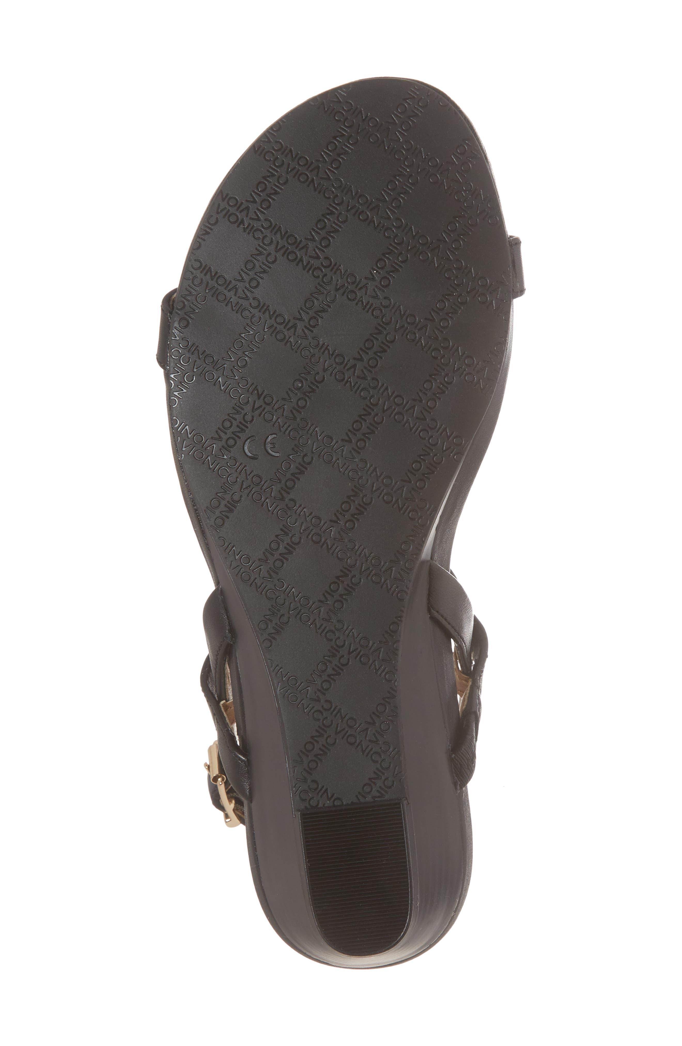 VIONIC,                             Cali T-Strap Wedge Sandal,                             Alternate thumbnail 6, color,                             001