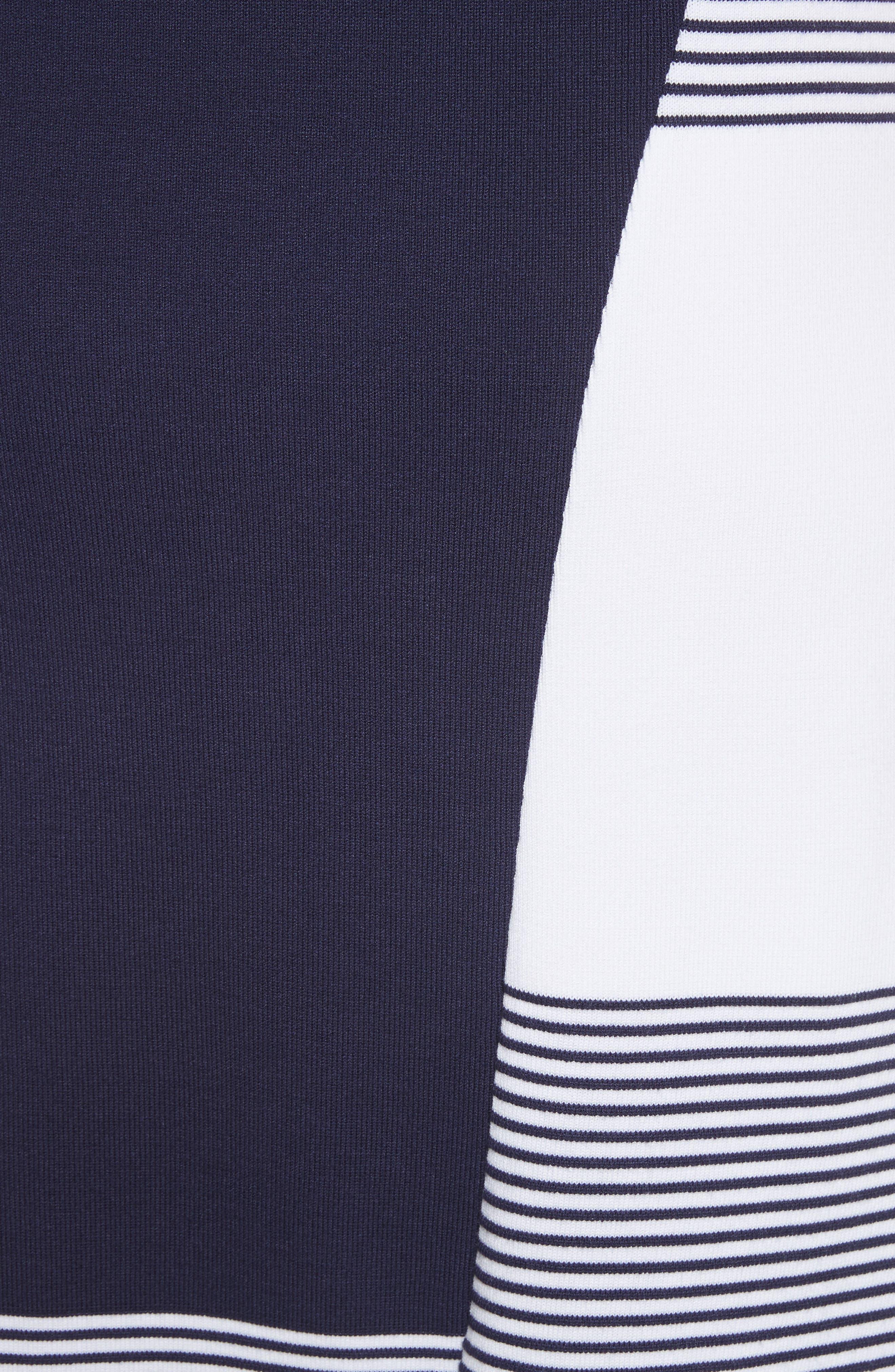 Colorblock Tech Knit Dress,                             Alternate thumbnail 5, color,                             100