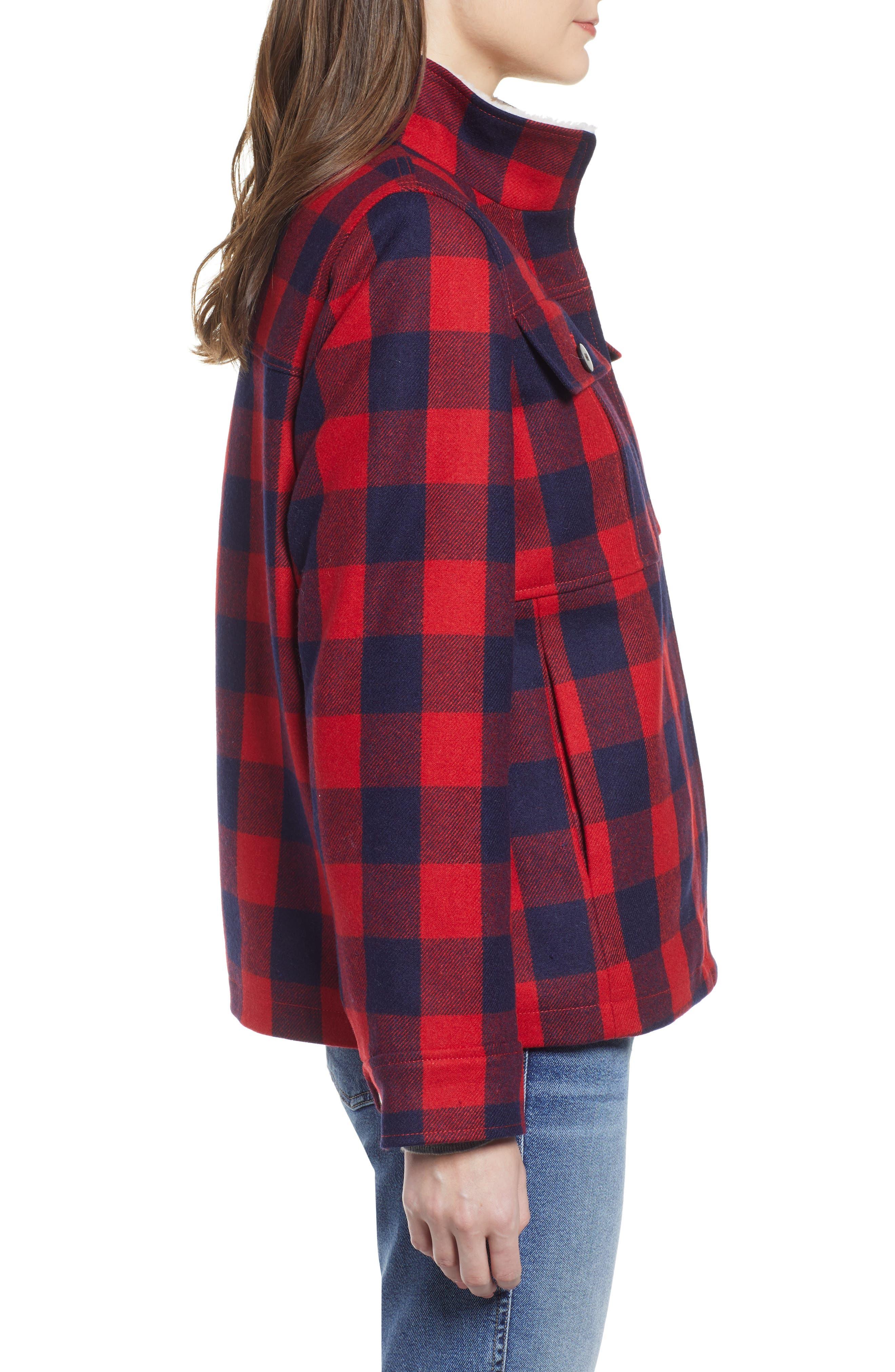Buffalo Check Workwear Jacket with Faux Shearling Lining,                             Alternate thumbnail 3, color,                             RED NAVY BUFFALO