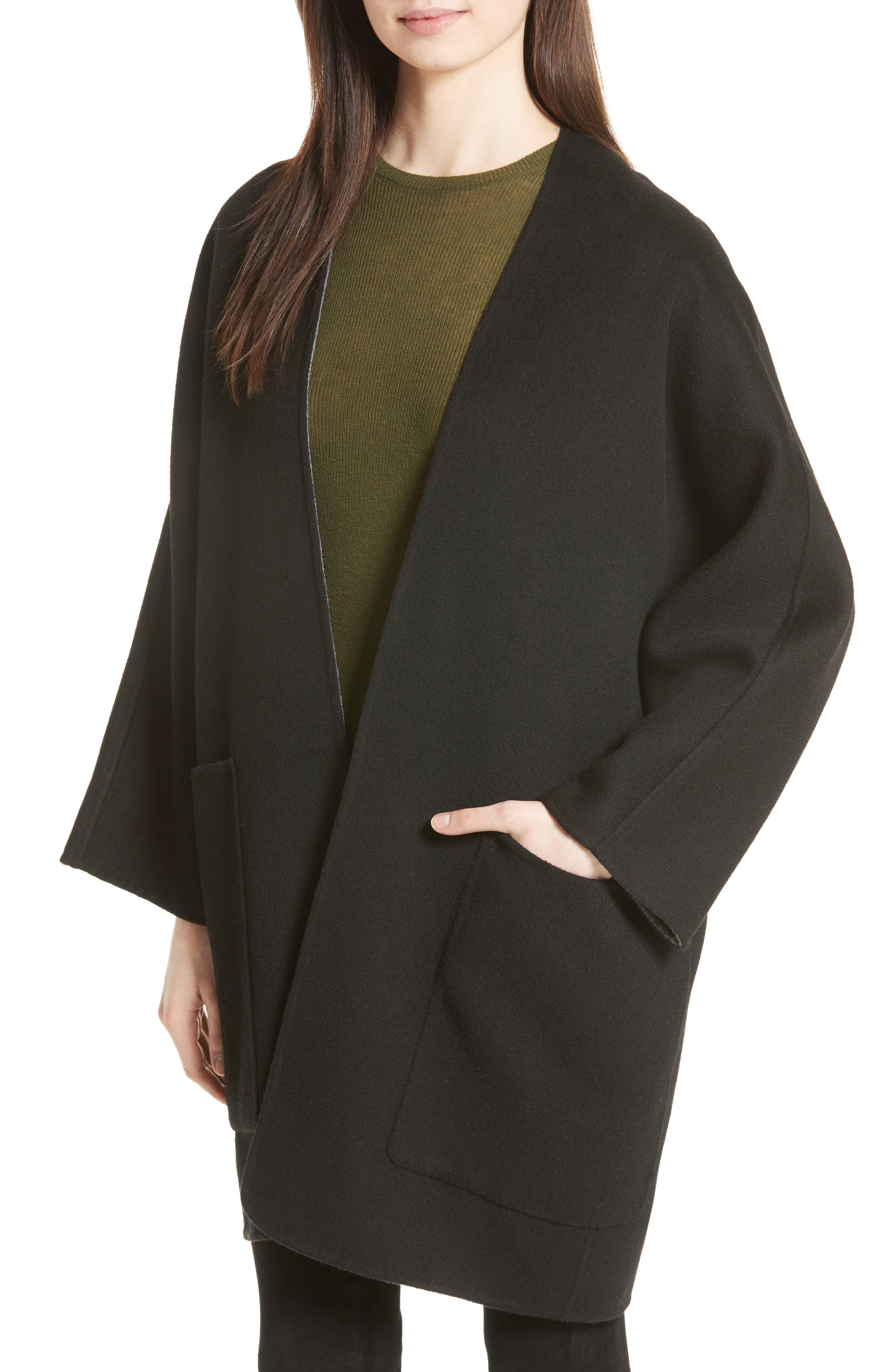 Reversible Wool & Cashmere Clutch Coat,                             Alternate thumbnail 5, color,                             006
