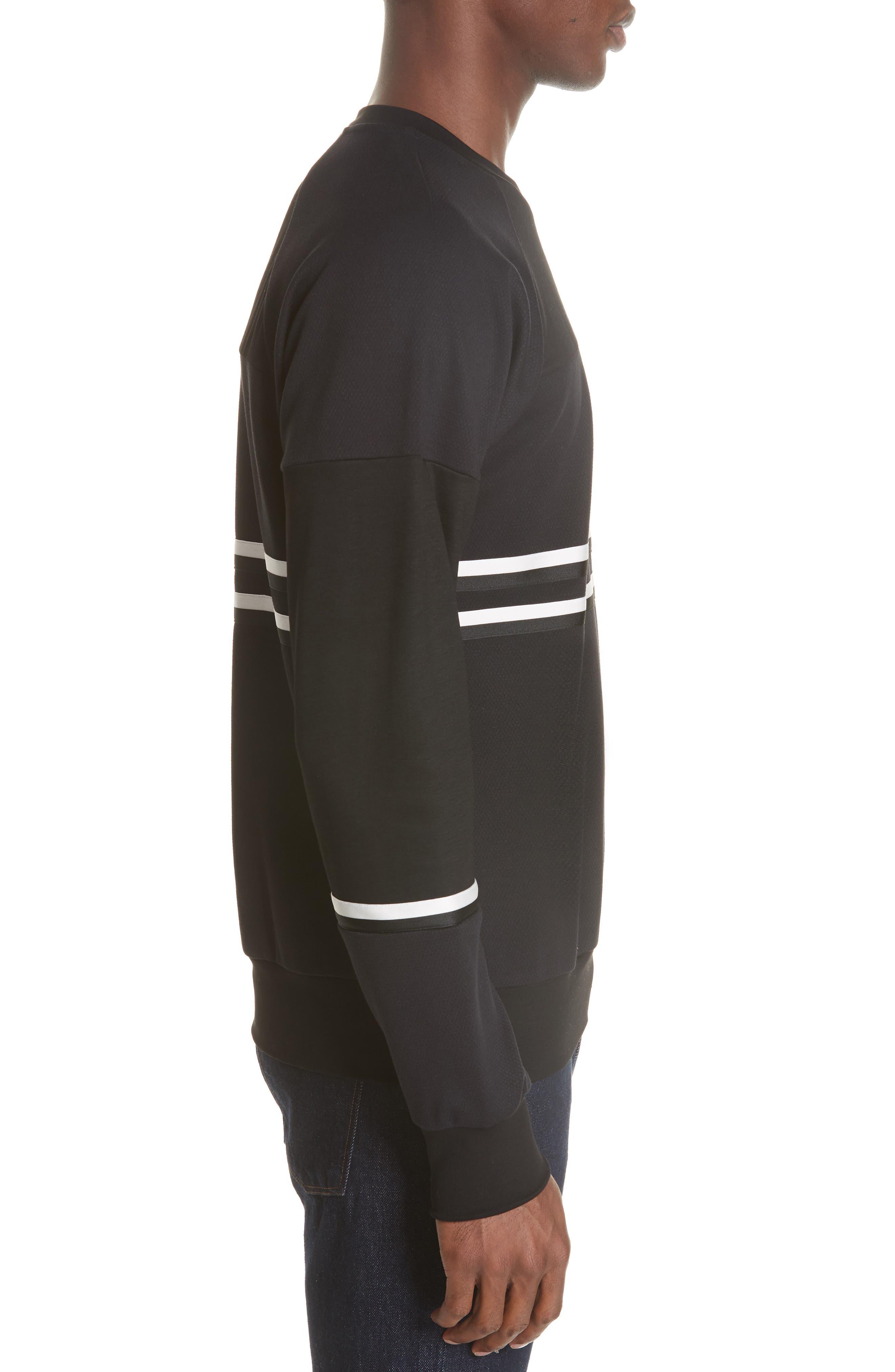 Stripe Trim Sweatshirt,                             Alternate thumbnail 3, color,                             001