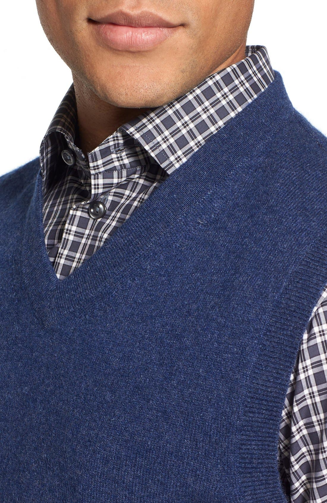 Cashmere V-Neck Sweater Vest,                             Alternate thumbnail 8, color,                             BLUE ESTATE HEATHER