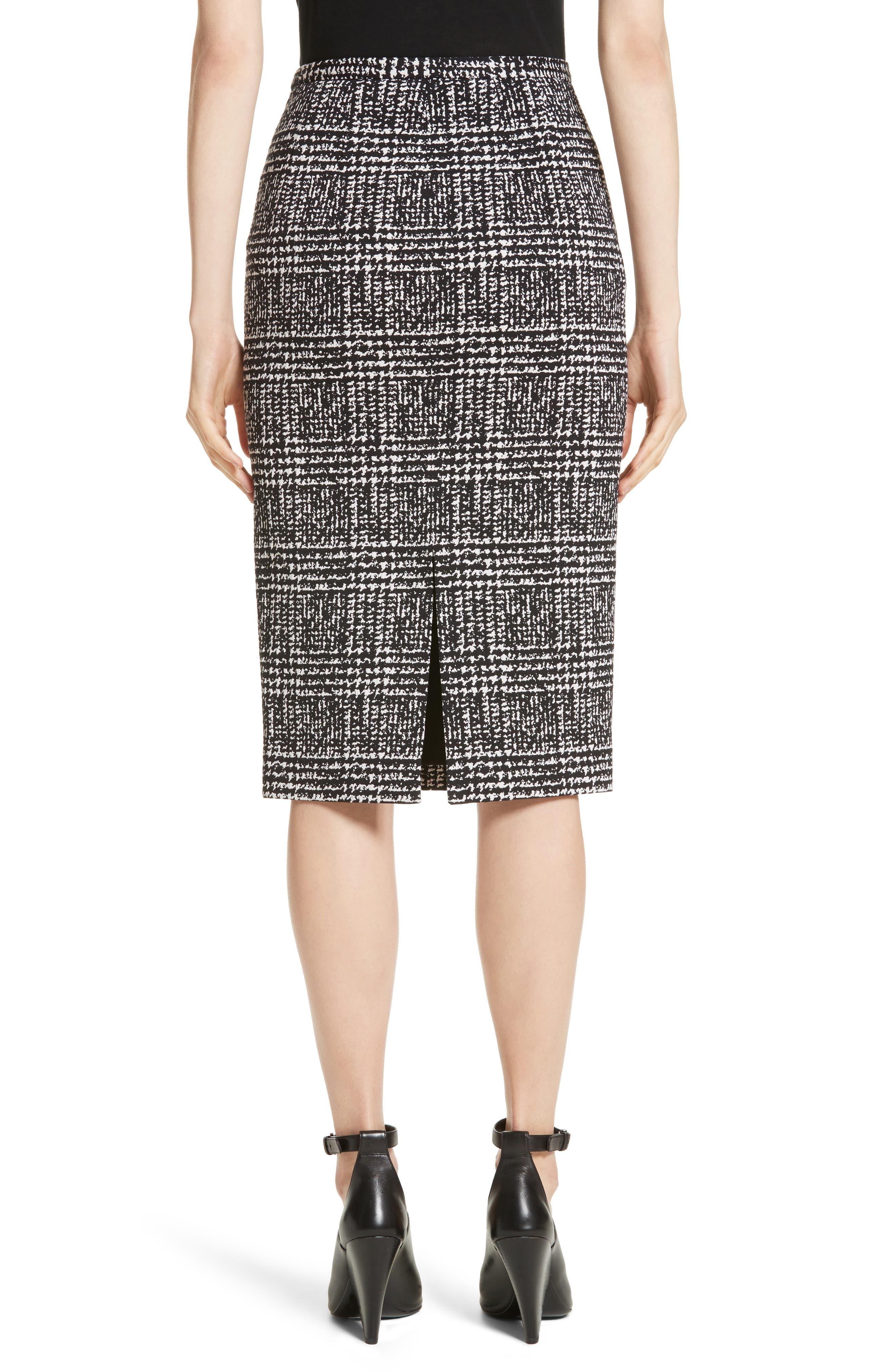 Glen Plaid Stretch Jacquard Skirt,                             Alternate thumbnail 2, color,                             001
