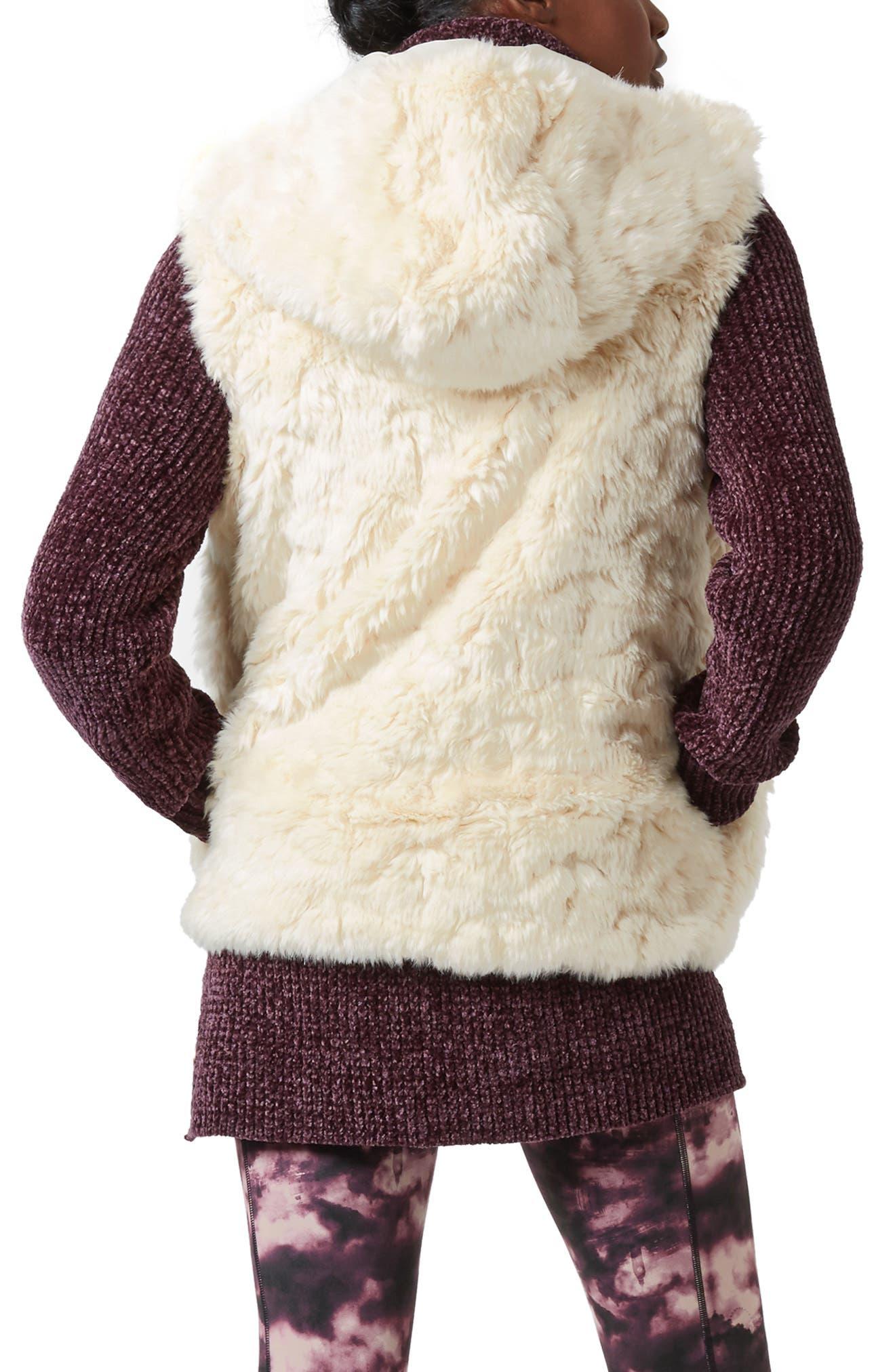 Faux Fur Hooded Vest,                             Alternate thumbnail 2, color,                             OATMEAL