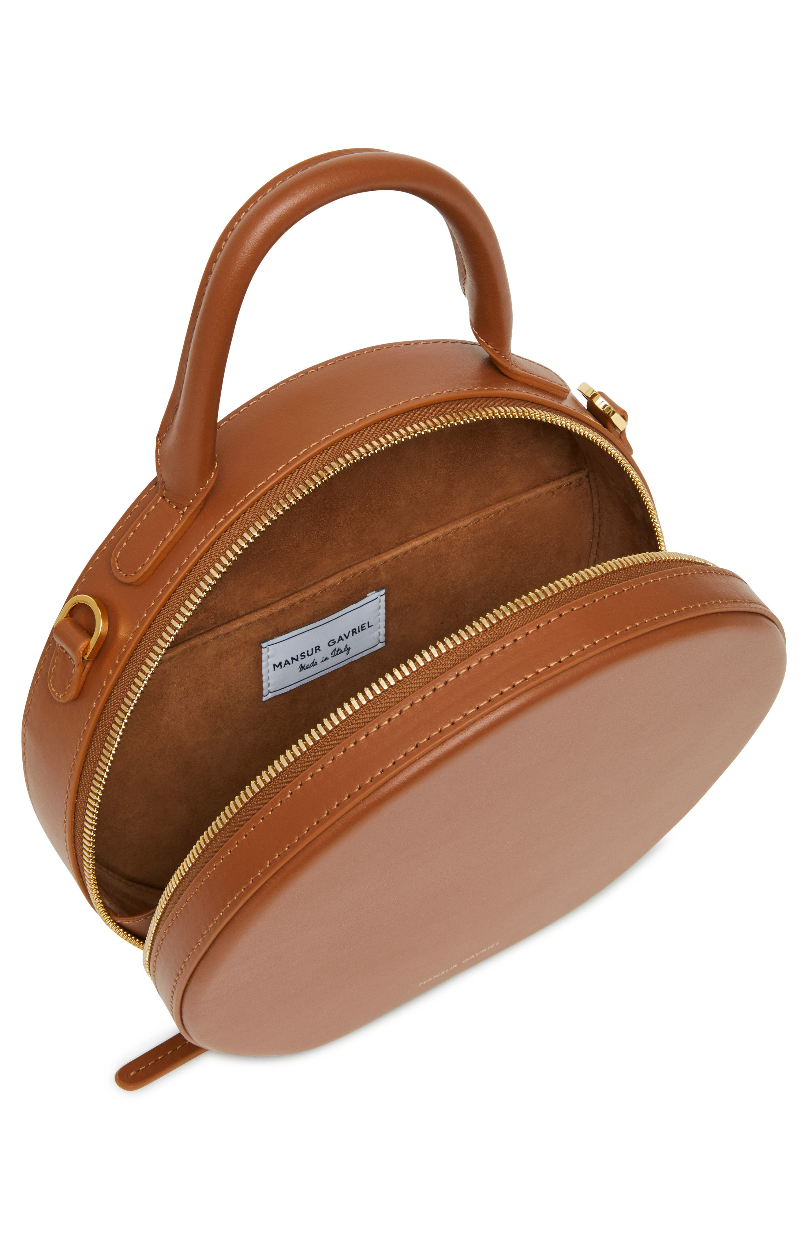 Leather Circle Crossbody Bag,                             Alternate thumbnail 5, color,                             SADDLE