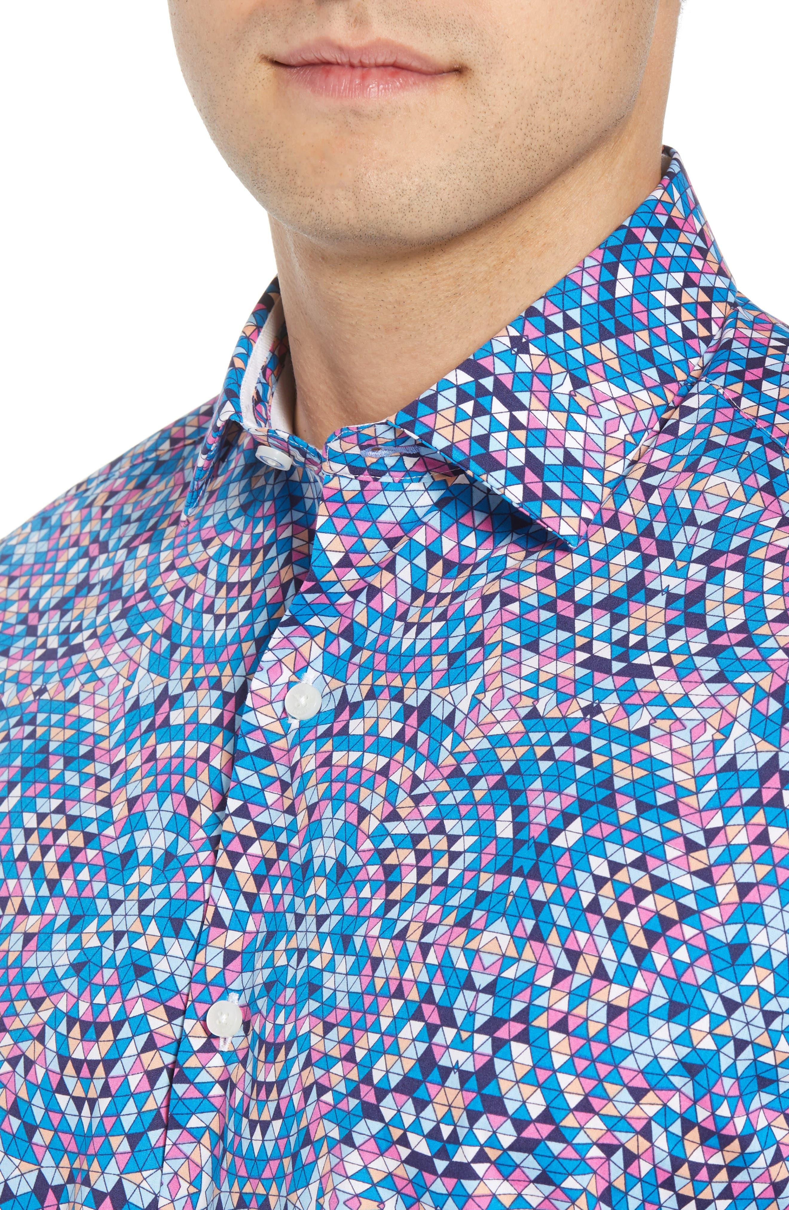 Alvin Regular Fit Print Sport Shirt,                             Alternate thumbnail 4, color,                             460