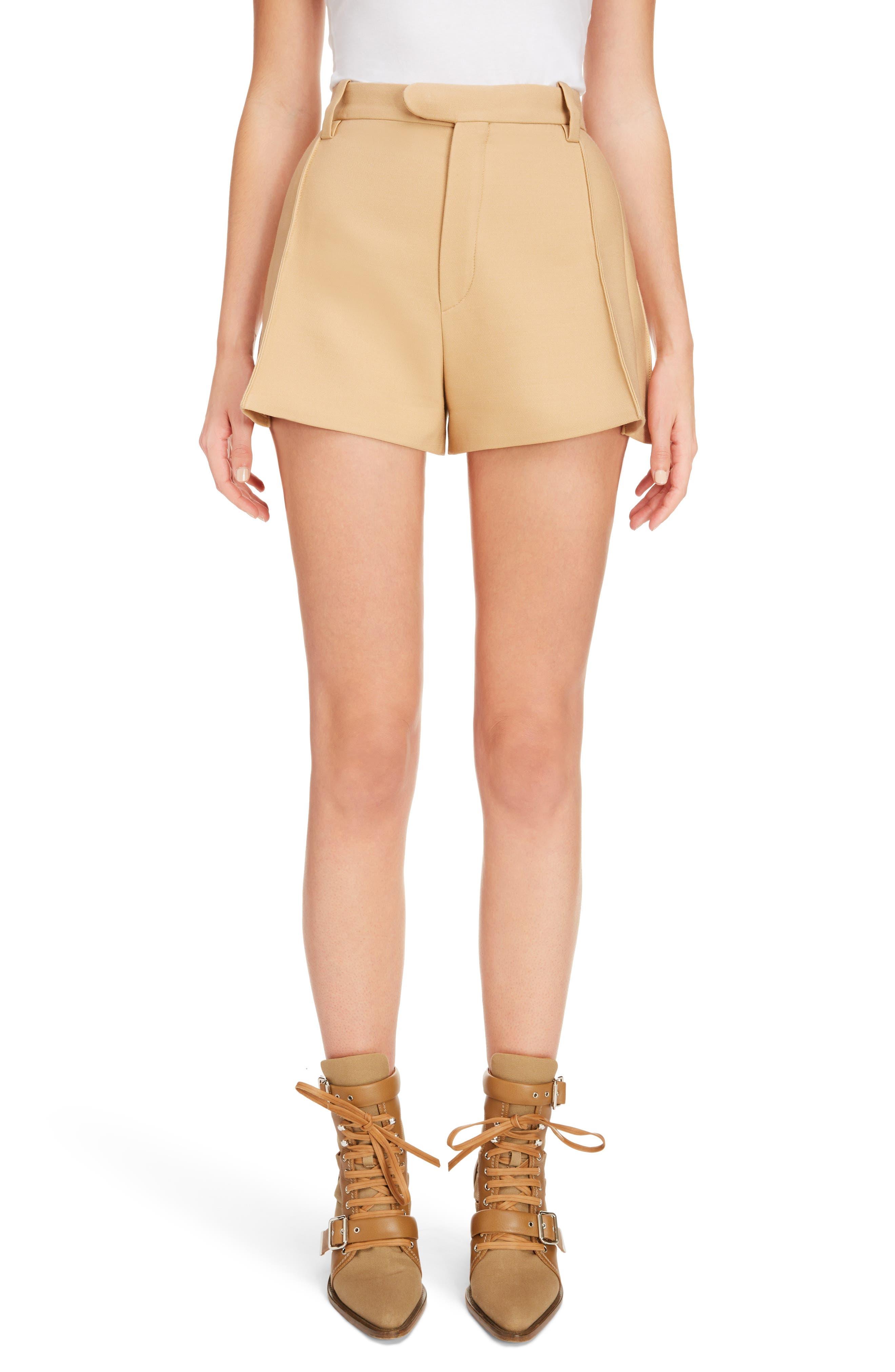 Side Pleat Wool & Silk Blend Shorts,                             Main thumbnail 1, color,