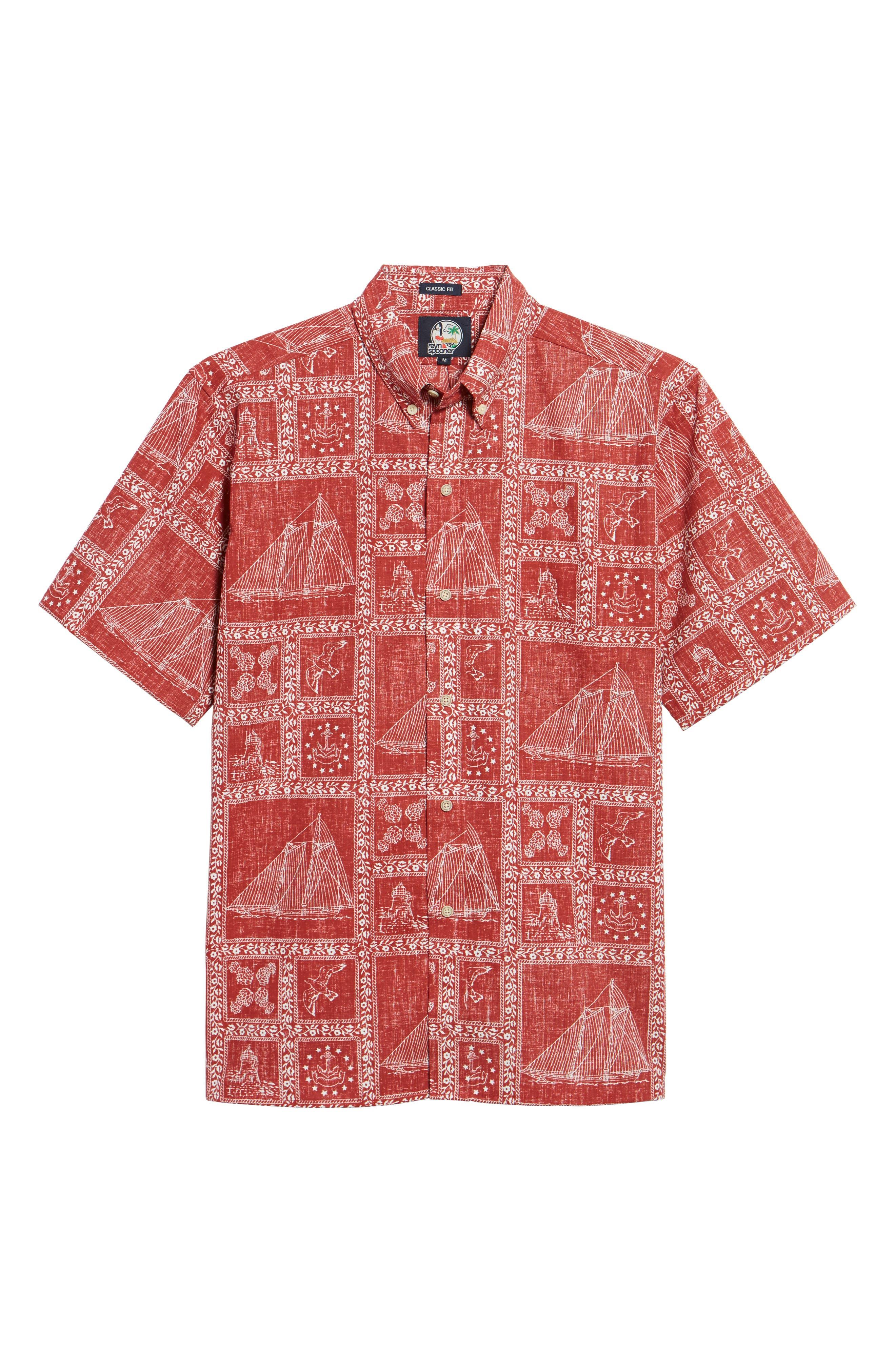 Newport Sailor Classic Fit Print Sport Shirt,                             Alternate thumbnail 6, color,                             600