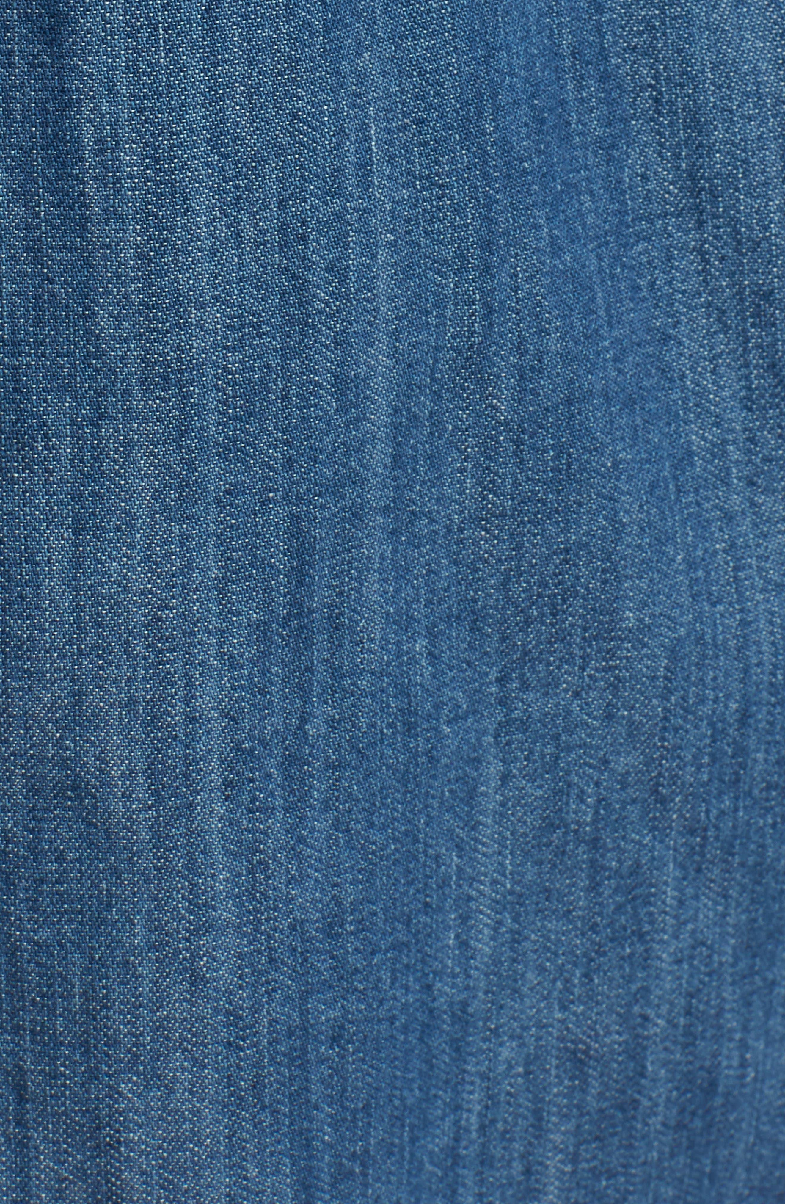 TREASURE & BOND,                             Pleated Cuff Chambray Shirt,                             Alternate thumbnail 5, color,                             420