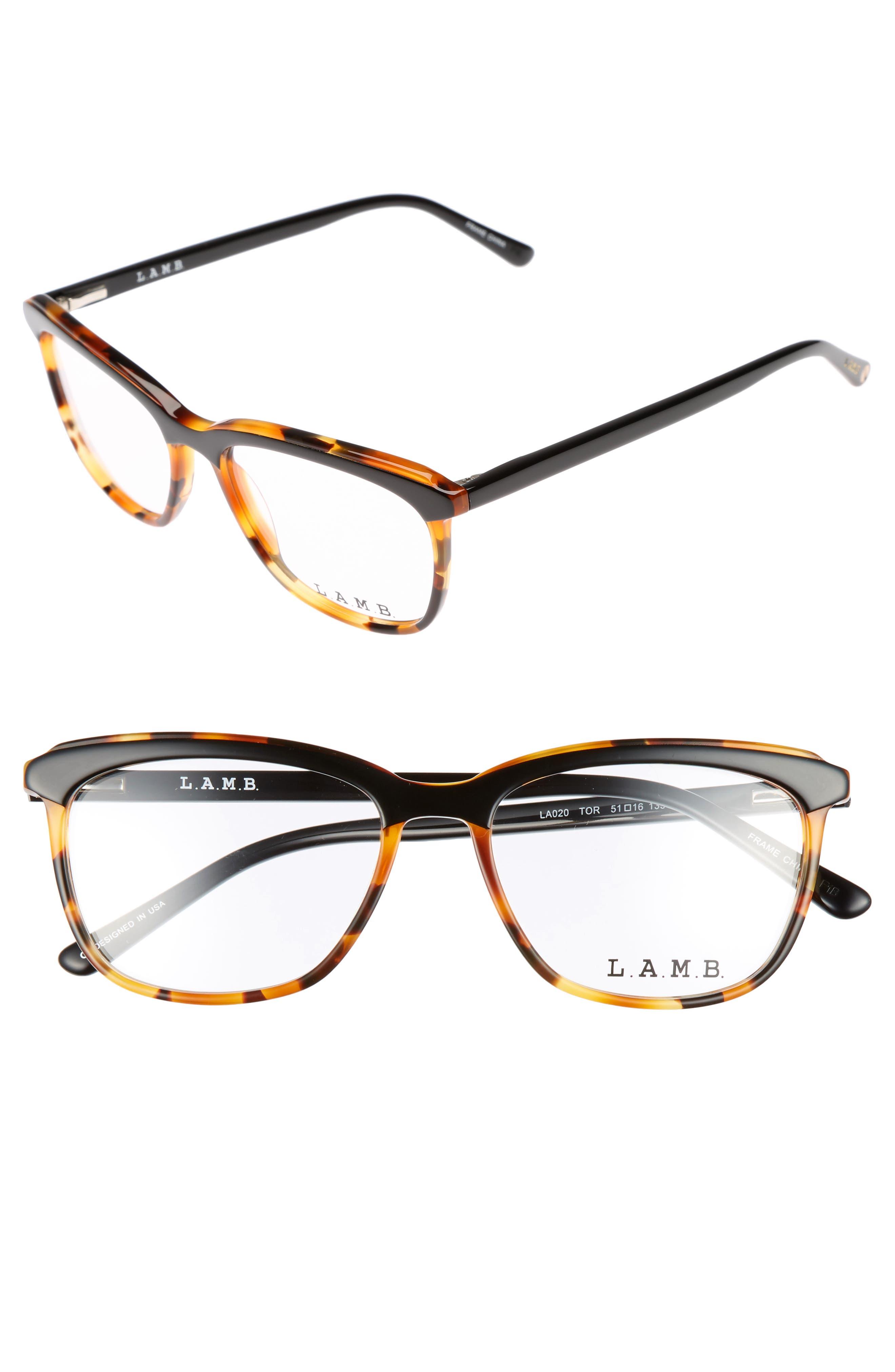 51mm Optical Square Glasses,                             Main thumbnail 1, color,                             001