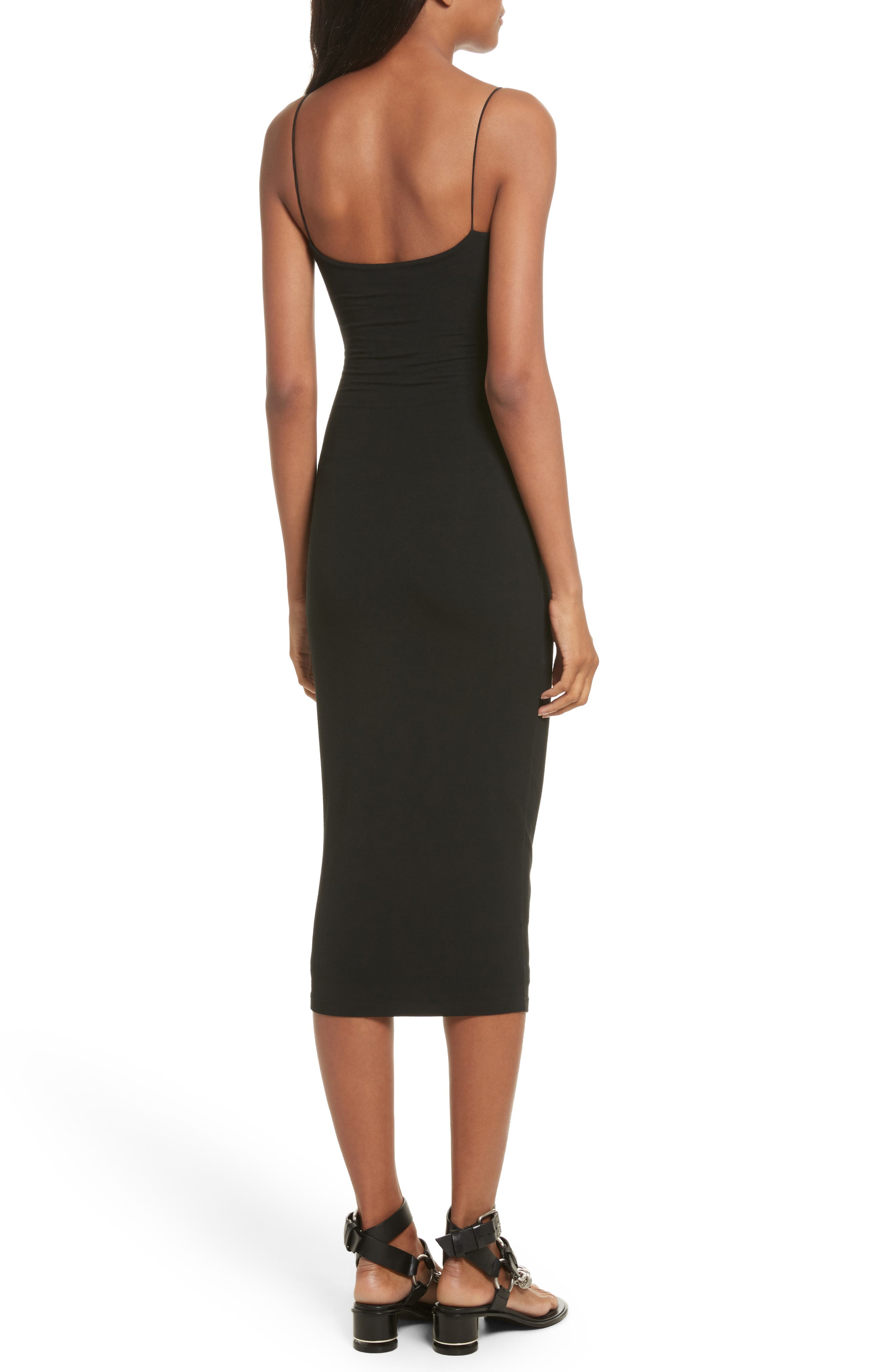 T by Alexander Wang Cutout Stretch Jersey Midi Dress,                             Alternate thumbnail 2, color,                             001
