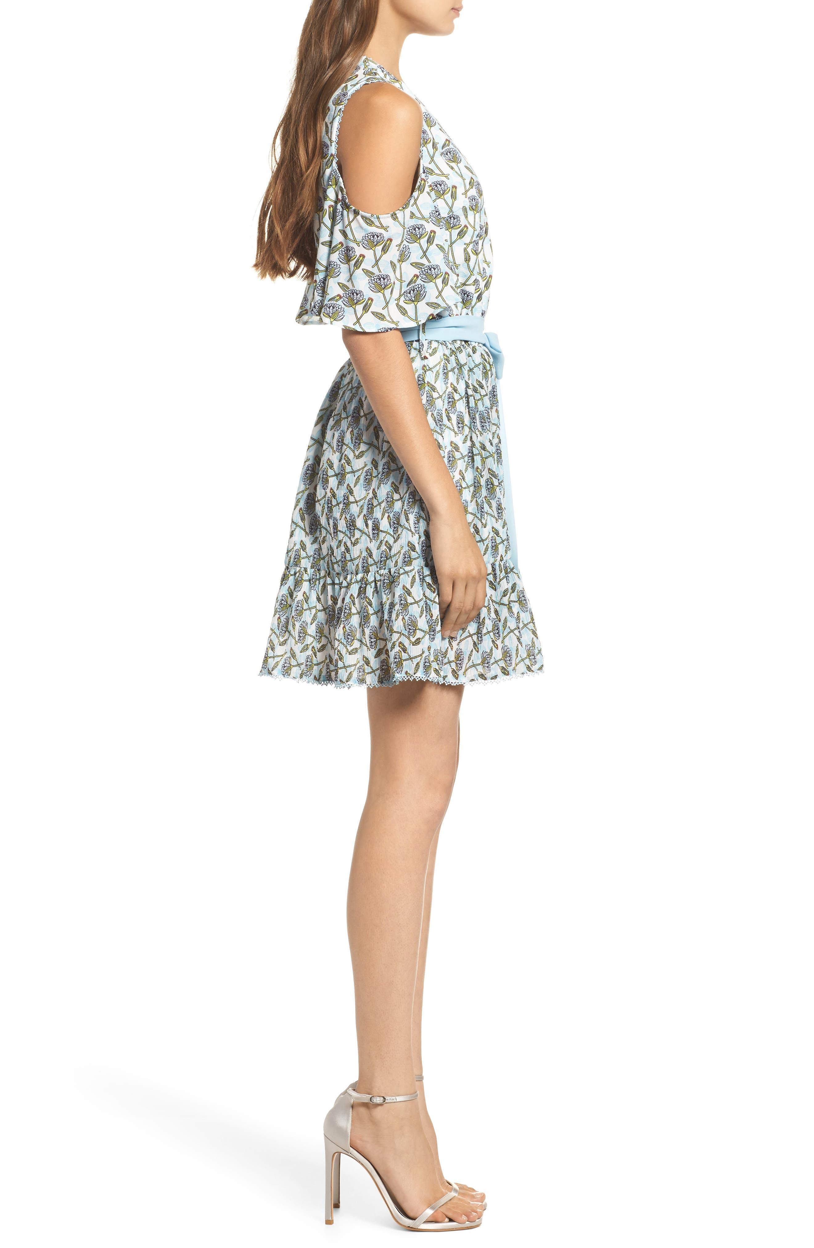 Lexie Cold Shoulder Wrap Dress,                             Alternate thumbnail 3, color,                             400