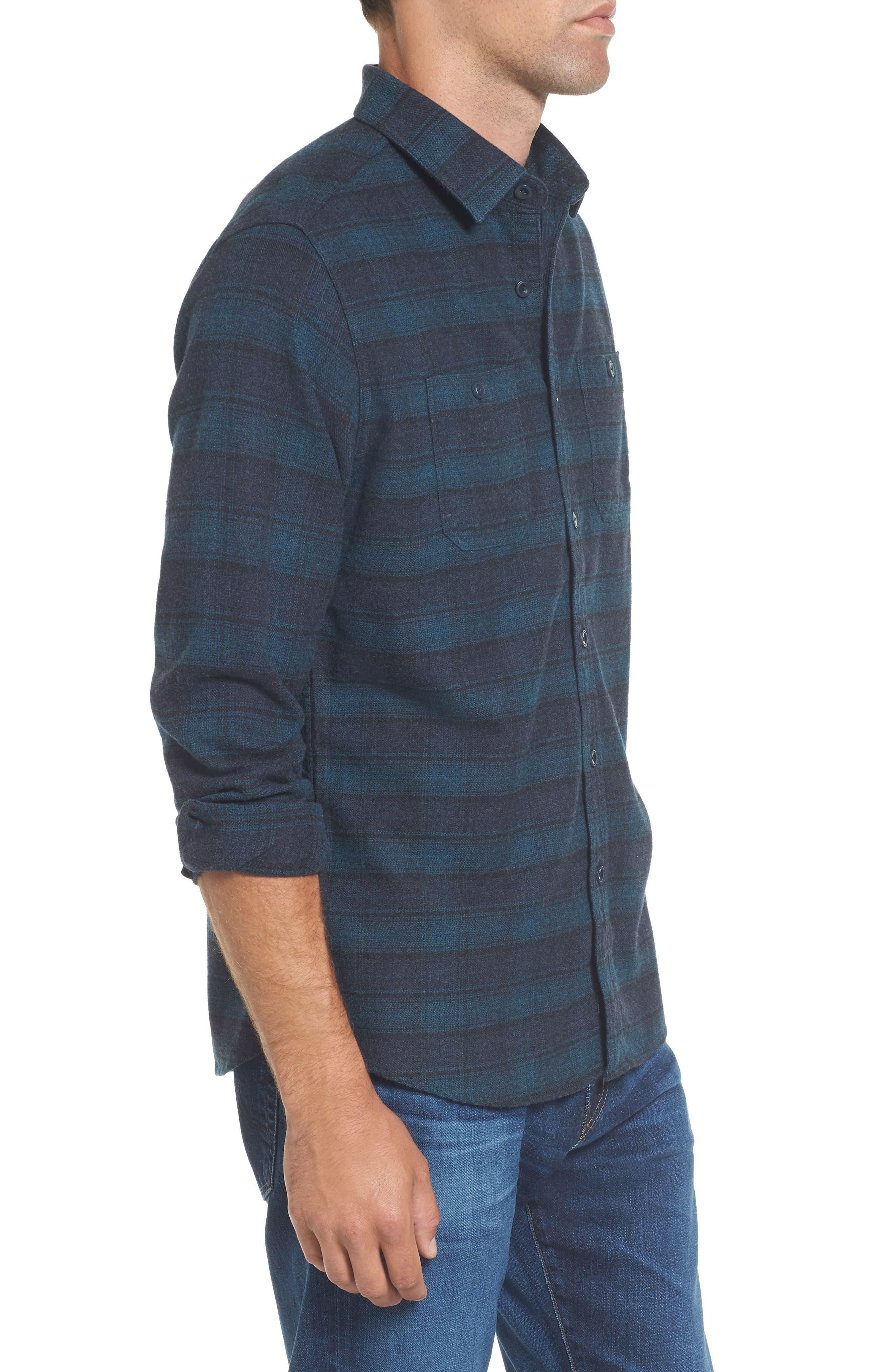 Cortland Heritage Modern Fit Flannel Sport Shirt,                             Alternate thumbnail 3, color,                             341