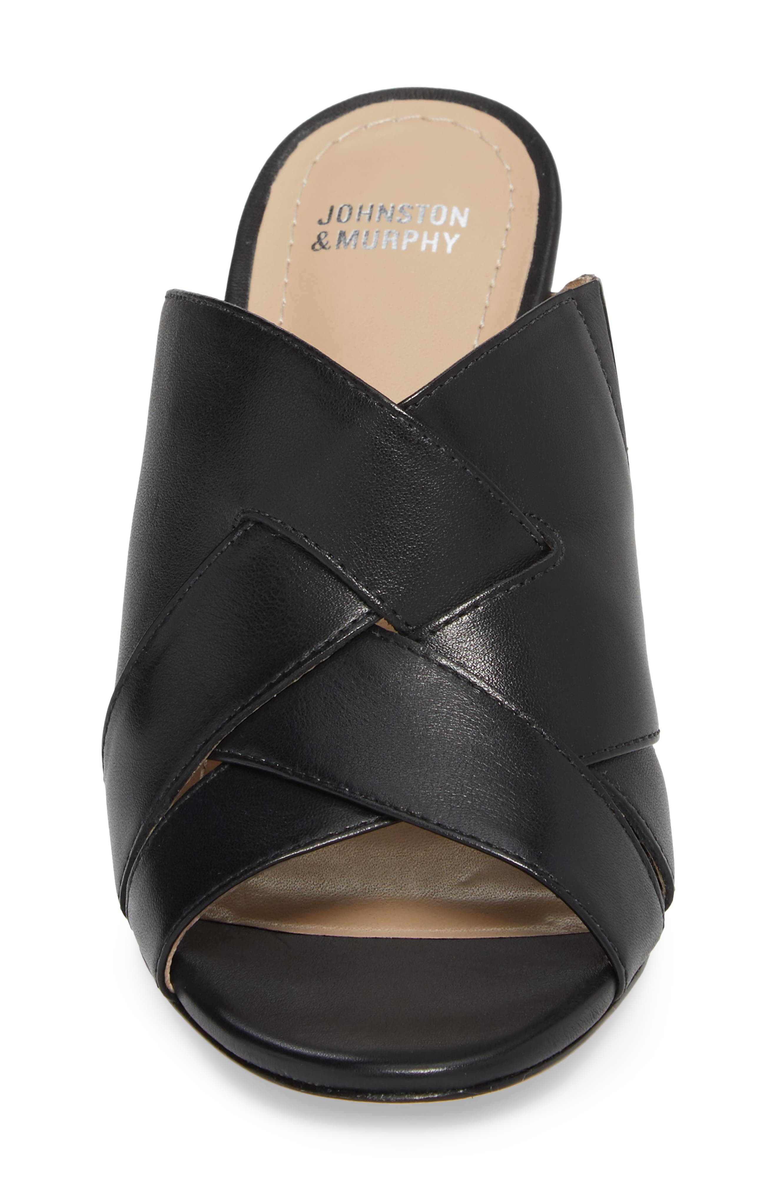 Carrie Mule Sandal,                             Alternate thumbnail 4, color,                             BLACK LEATHER