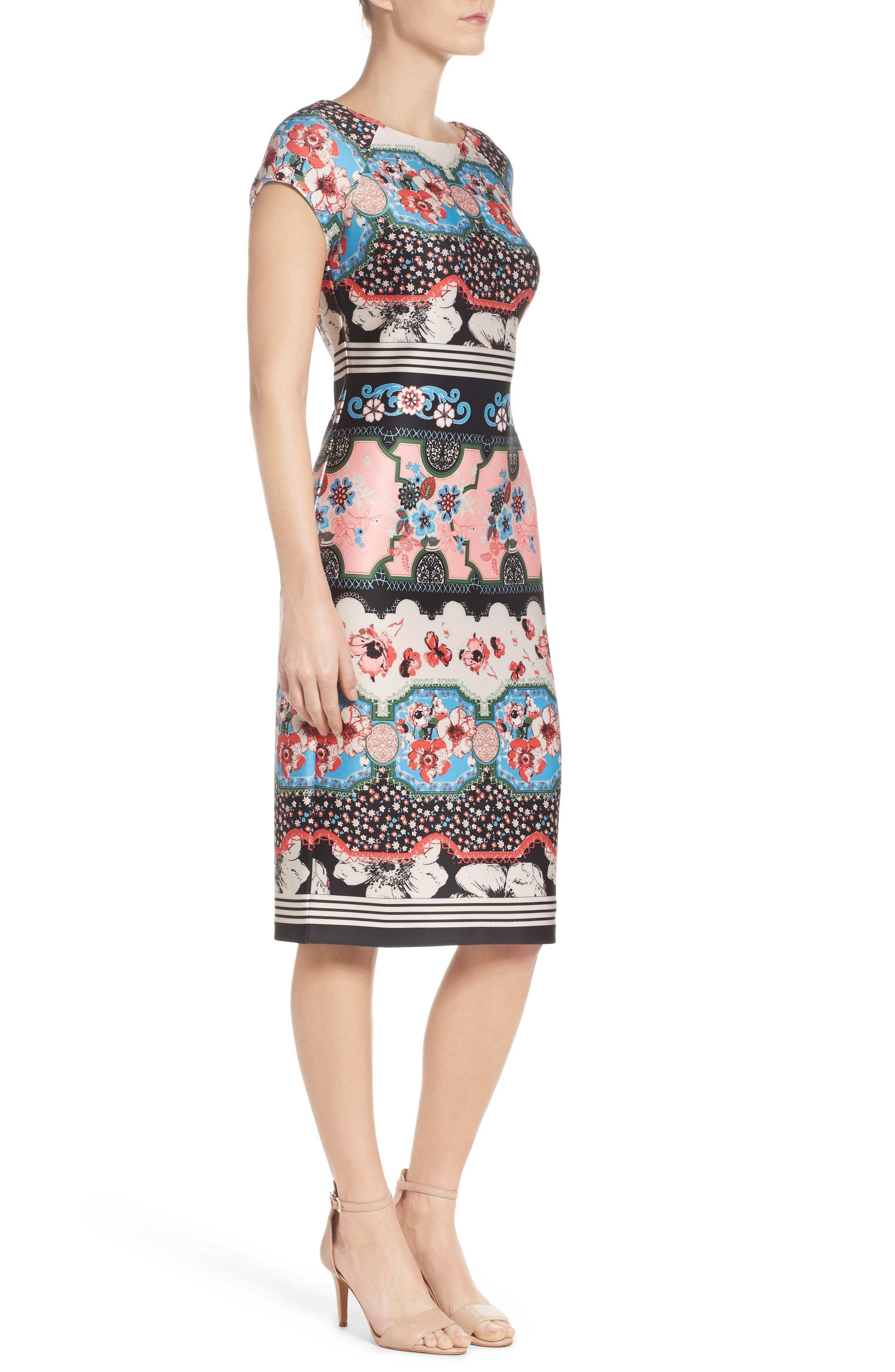 Scuba Sheath Dress,                             Alternate thumbnail 3, color,                             688