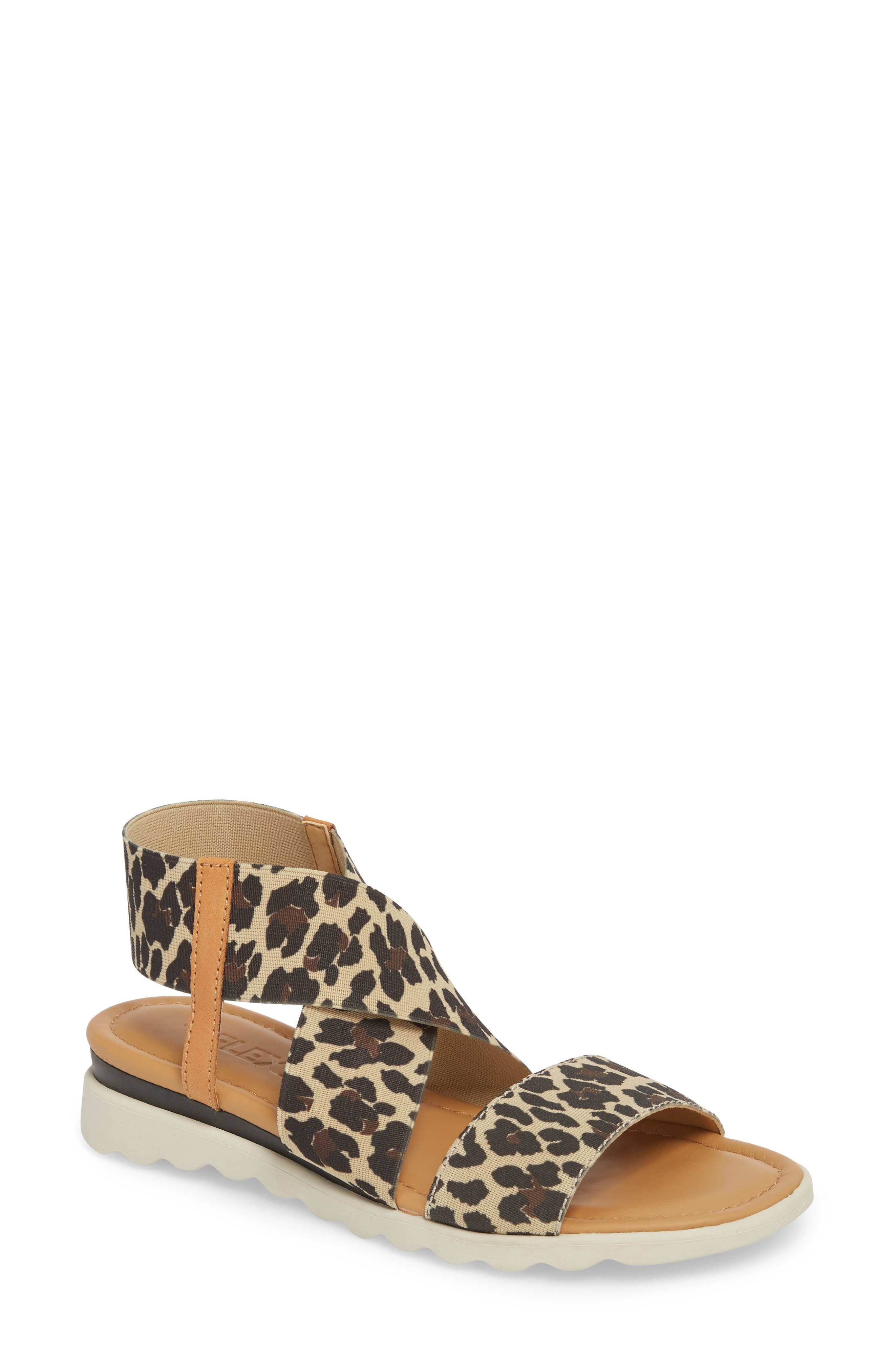 Extra Sandal,                             Main thumbnail 1, color,                             DUNE LEOPARD FABRIC