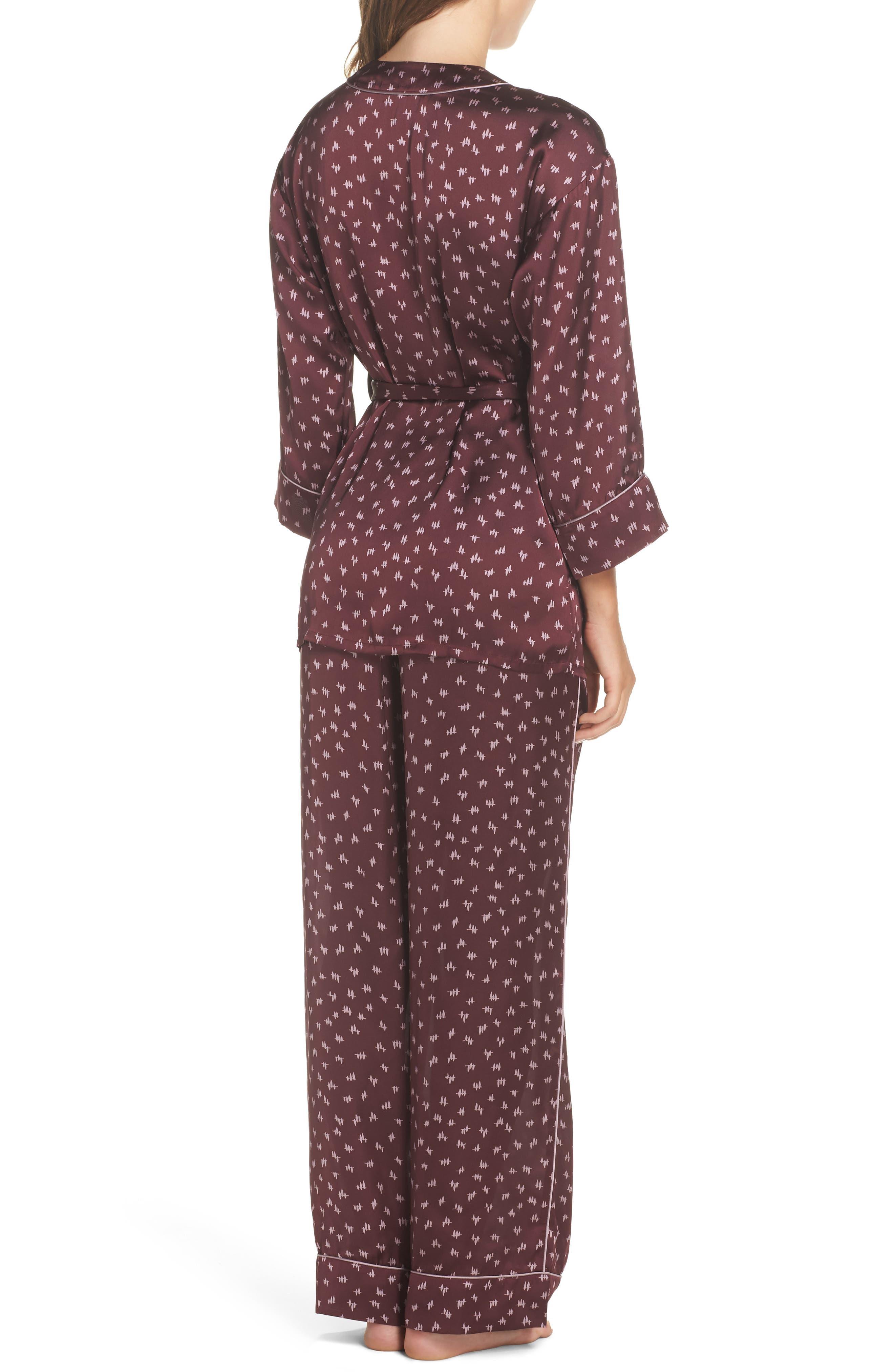 Wrap Satin Pajamas,                             Alternate thumbnail 2, color,                             930