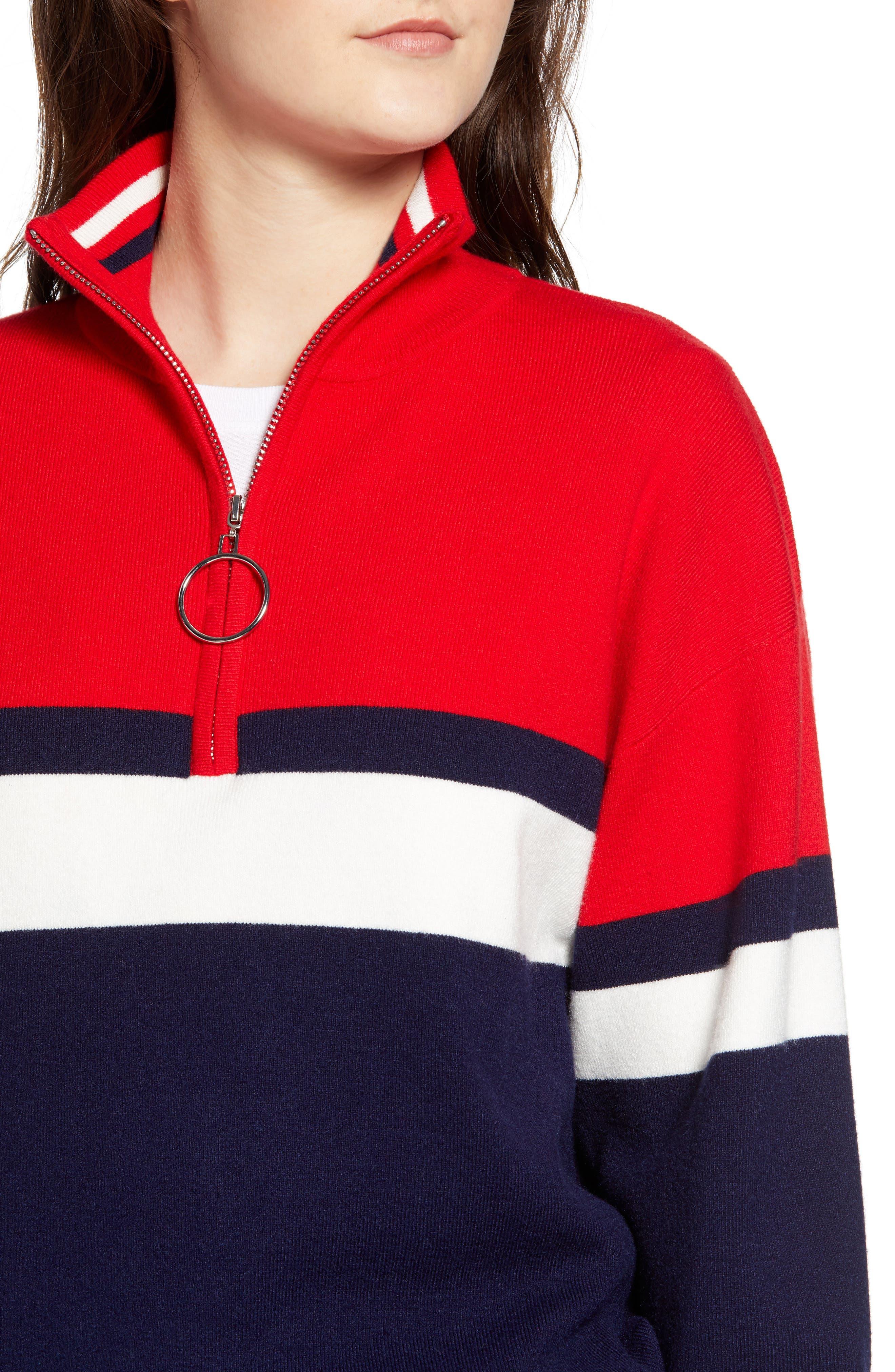 Stripe Half Zip Pullover,                             Alternate thumbnail 4, color,                             NAVY
