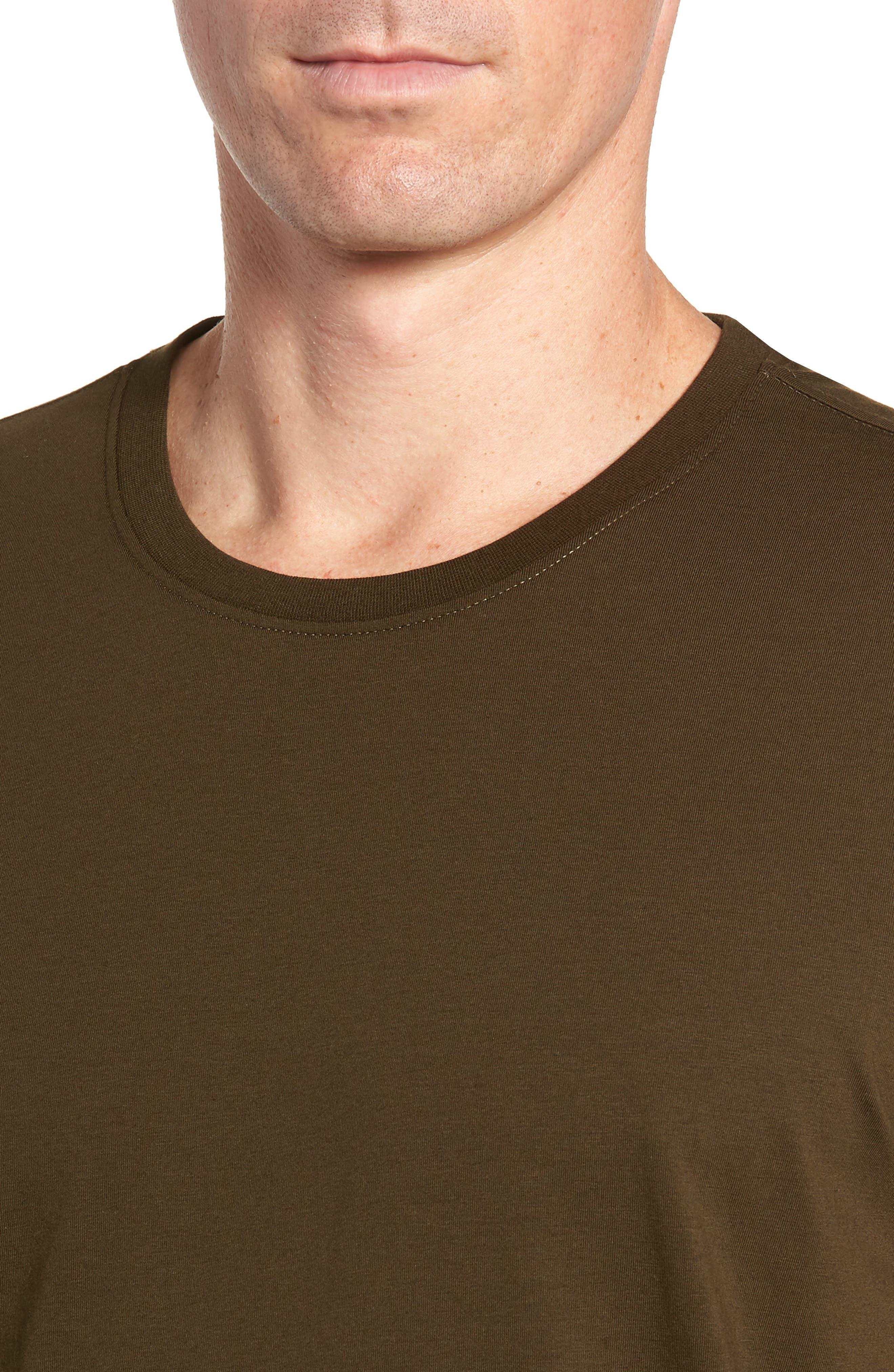 Stretch Cotton & Modal Crewneck T-Shirt,                             Alternate thumbnail 4, color,                             ARMY