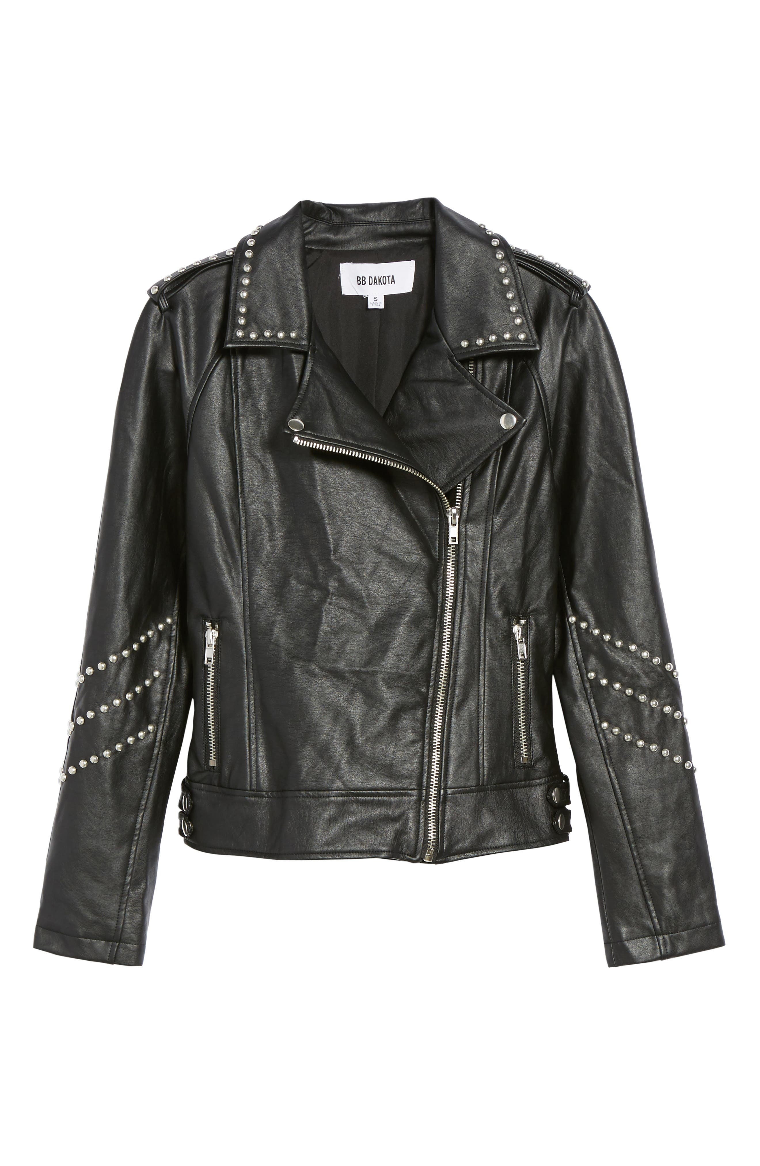 Jerilyn Studded Washed Faux Leather Jacket,                             Alternate thumbnail 5, color,                             001
