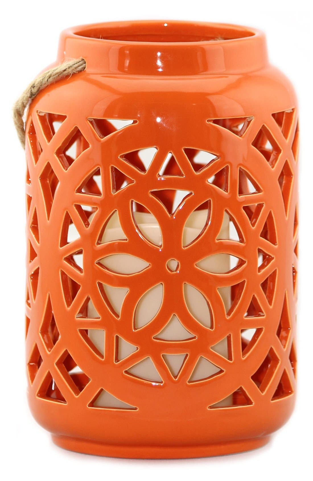 Ceramic Lantern & All-Weather Flameless Candle,                             Main thumbnail 2, color,