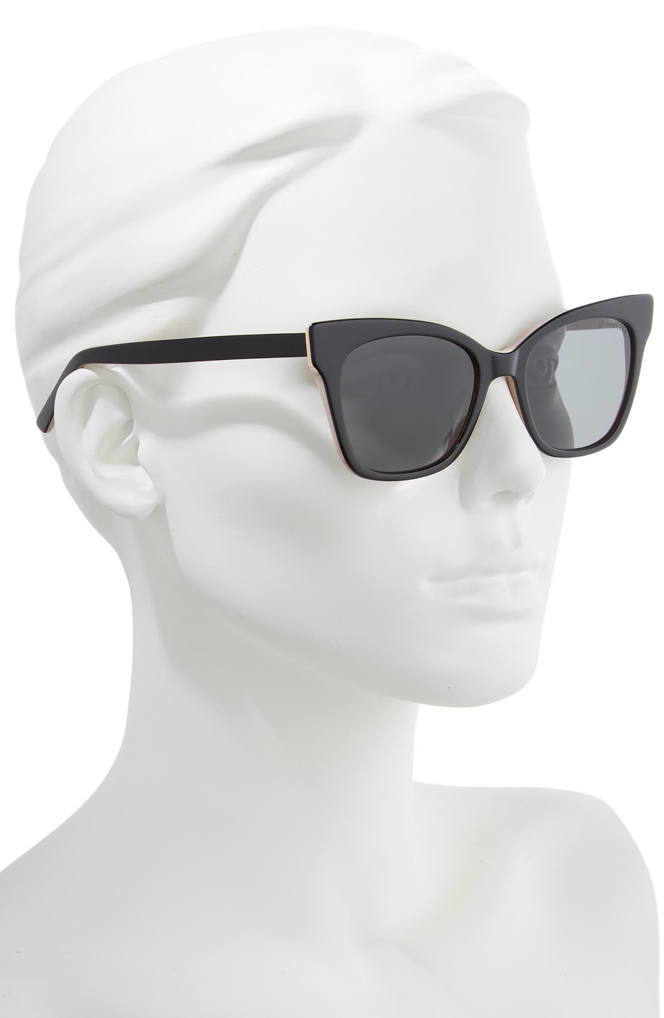 53mm Cat Eye Sunglasses,                             Alternate thumbnail 2, color,                             BLACK