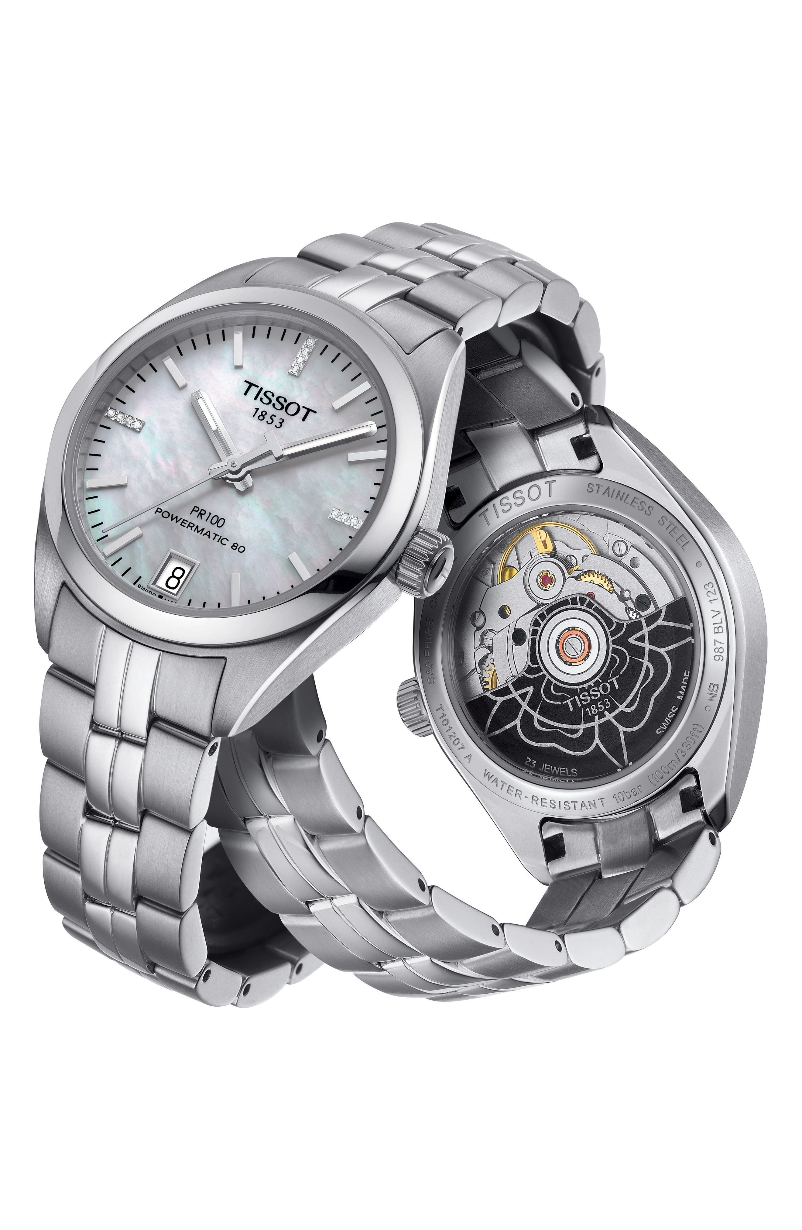 PR100 Diamond Automatic Bracelet Watch, 33mm,                             Alternate thumbnail 3, color,                             SILVER