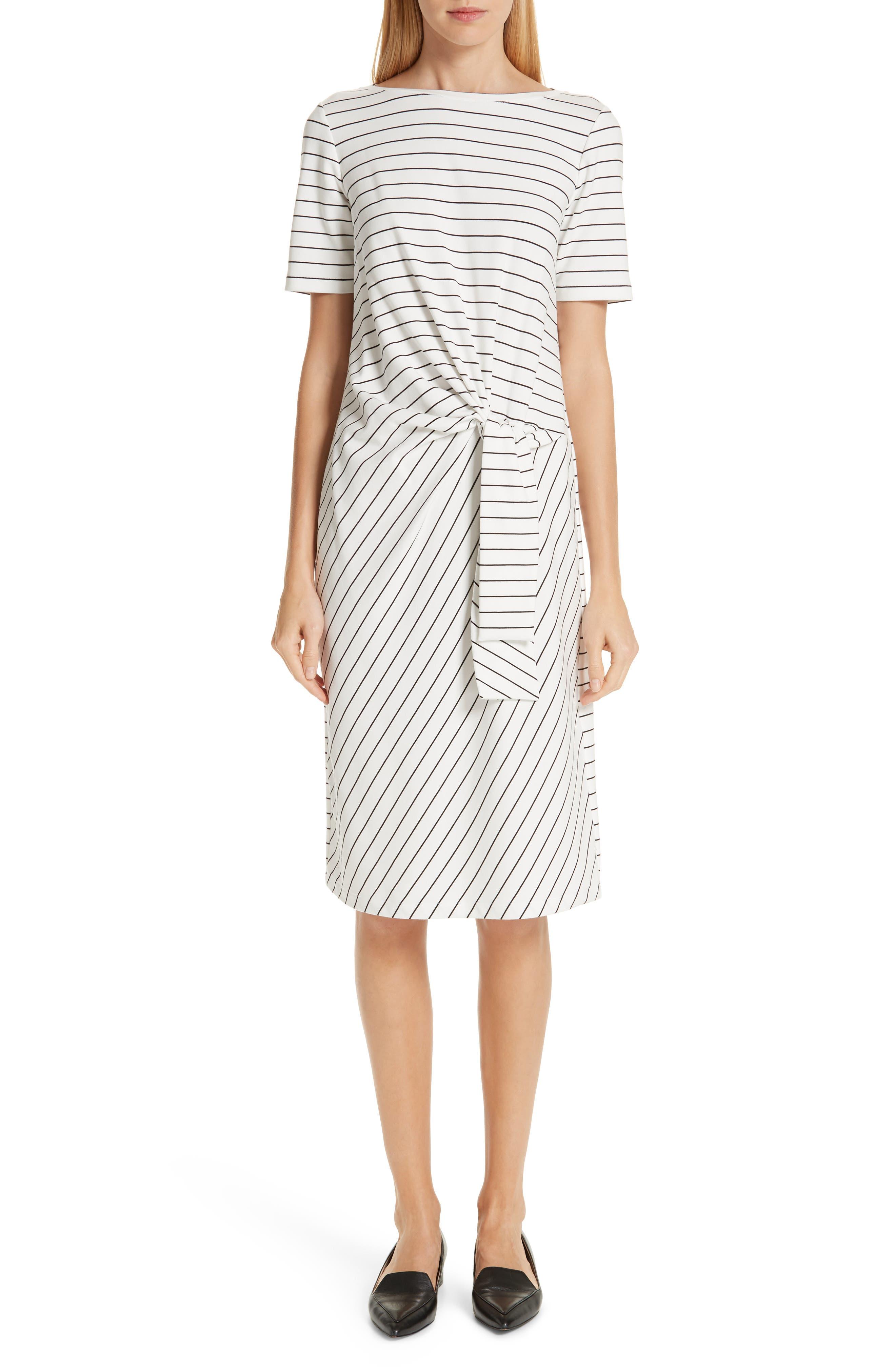 Lafayette 148 New York Glendora Knotted Stripe Dress, White