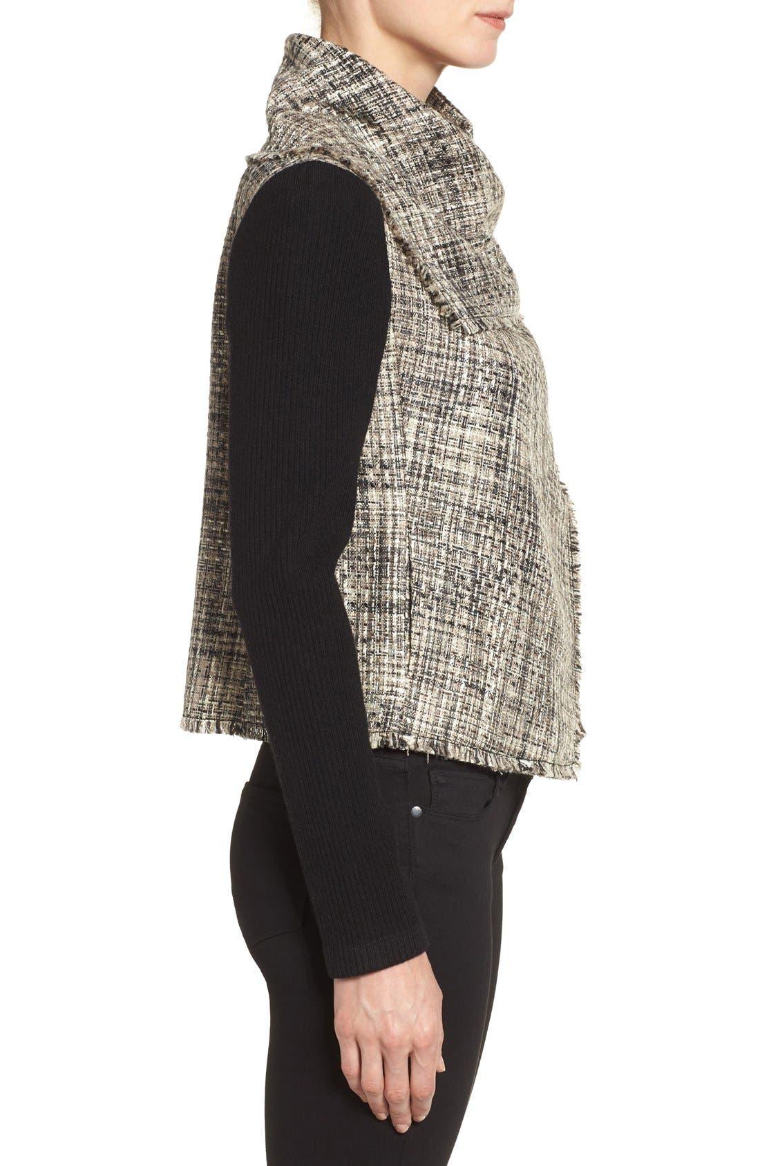 ANNE KLEIN,                             Mixed Media Drape Front Jacket,                             Alternate thumbnail 3, color,                             001