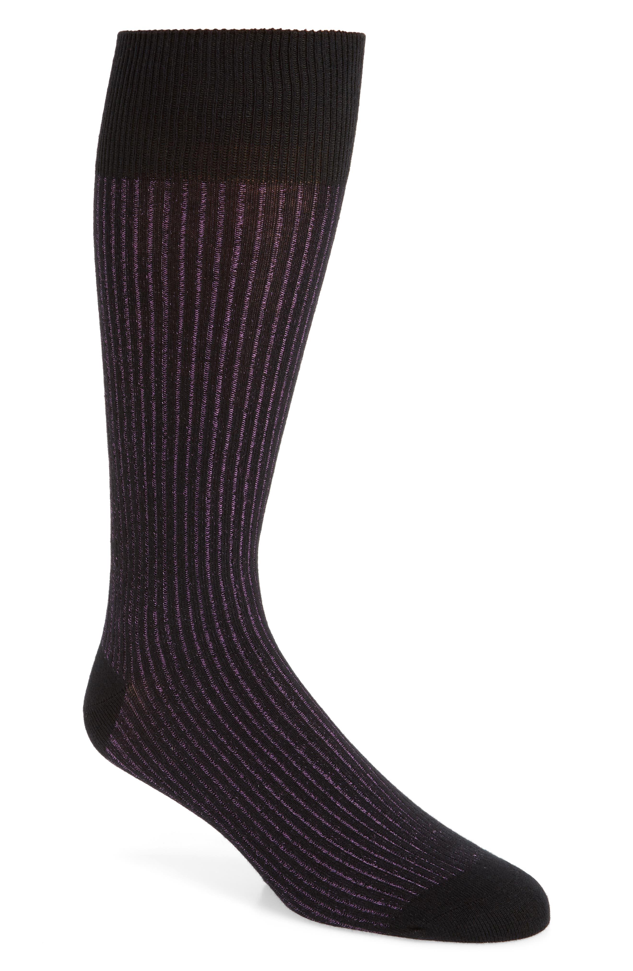 Ribbed Socks,                         Main,                         color, BLACK/ PURPLE LILY
