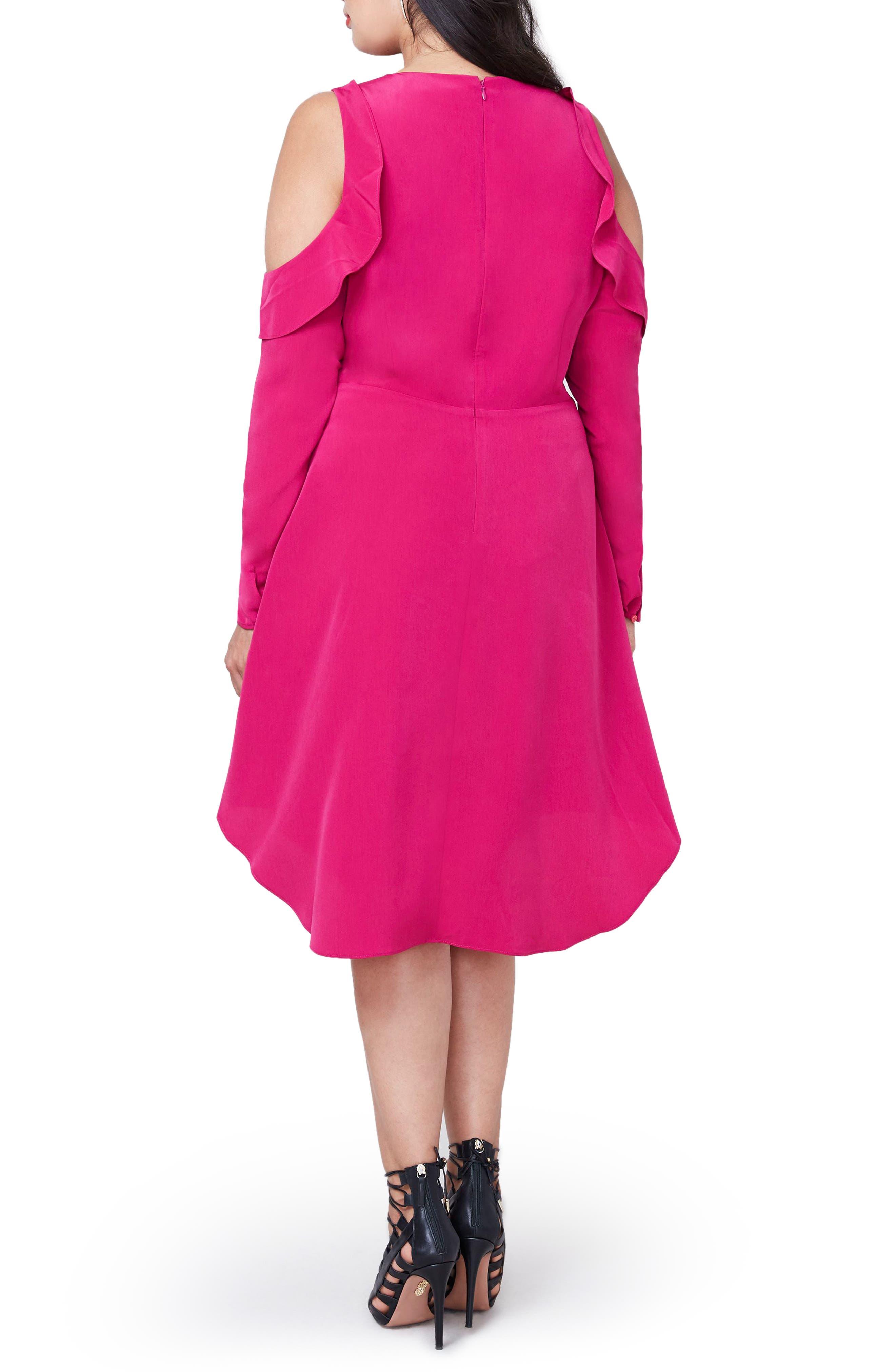 RACHEL Rachel Roy Ruffle Cold Shoulder Dress,                             Alternate thumbnail 4, color,