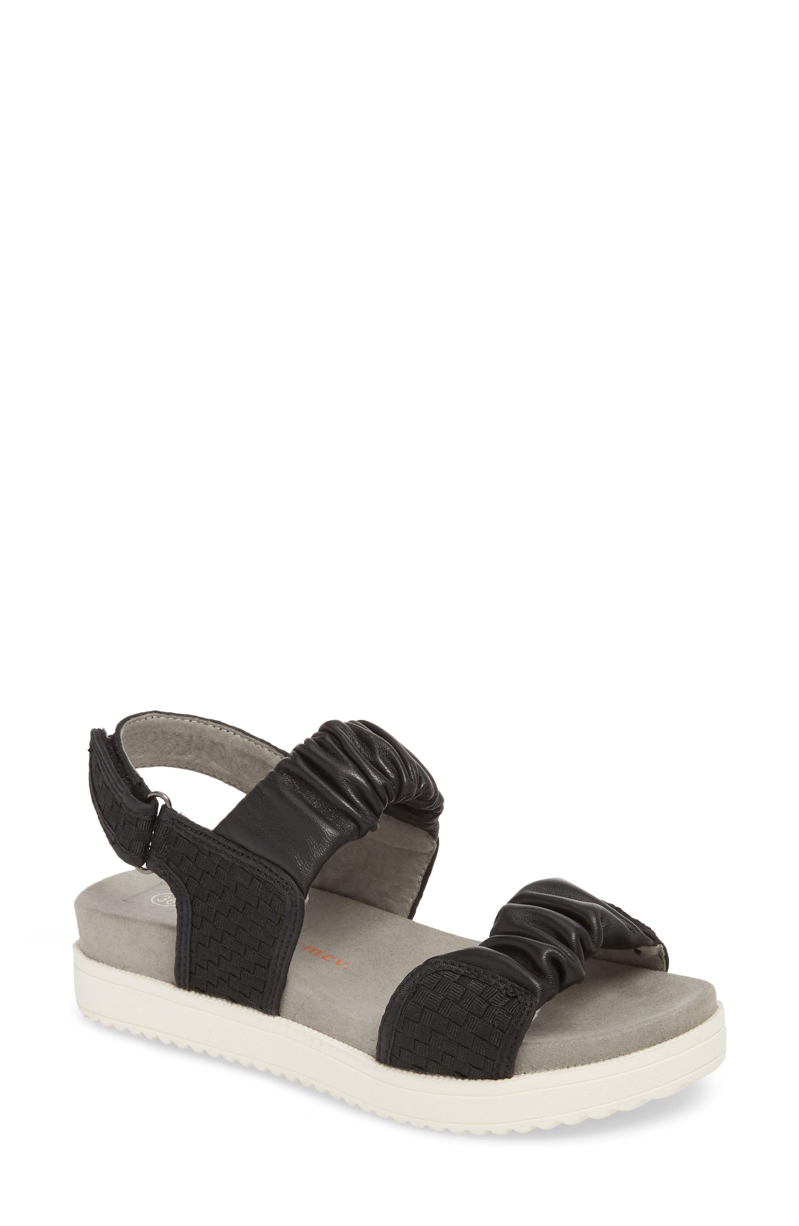 Fiji Sandal,                         Main,                         color, BLACK/ BLACK LEATHER