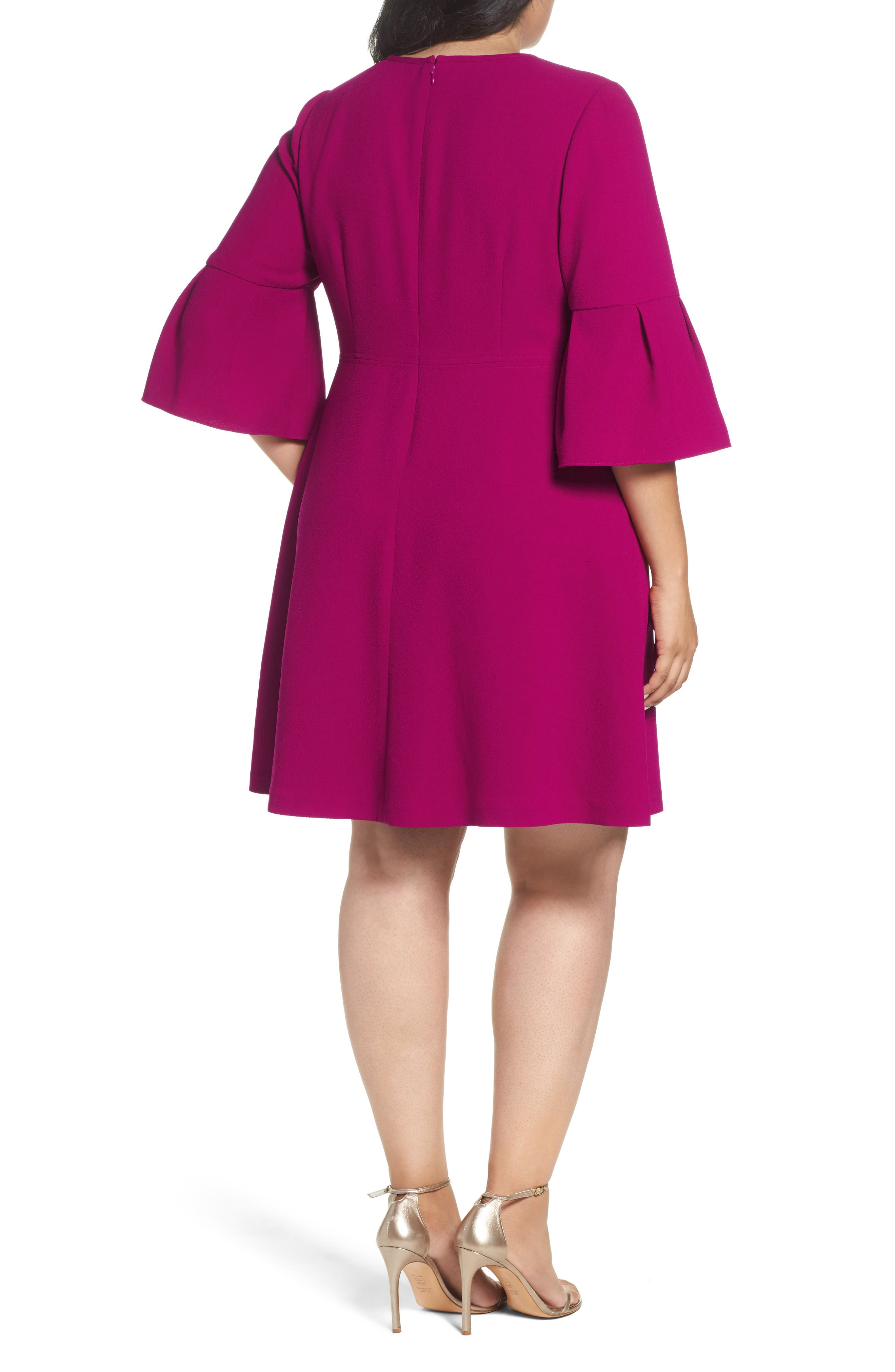 Bell Sleeve Fit & Flare Dress,                             Alternate thumbnail 2, color,                             678