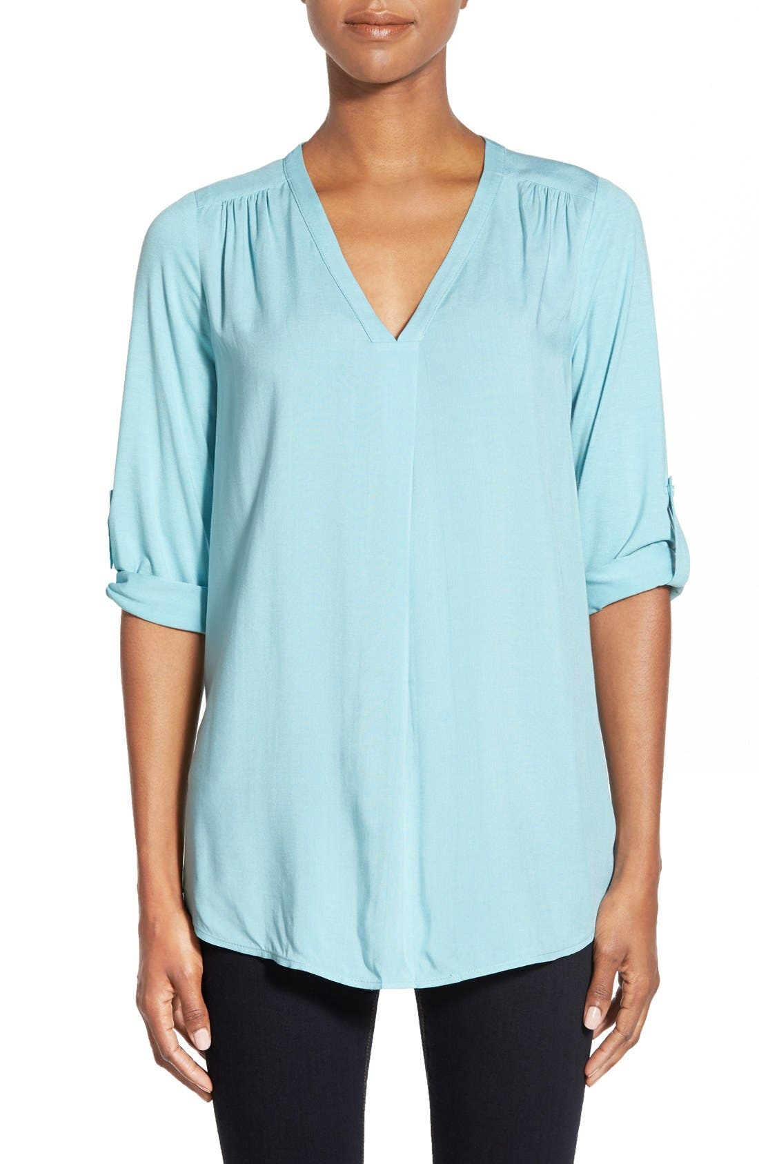 Mixed Media V-Neck Tunic,                             Main thumbnail 10, color,