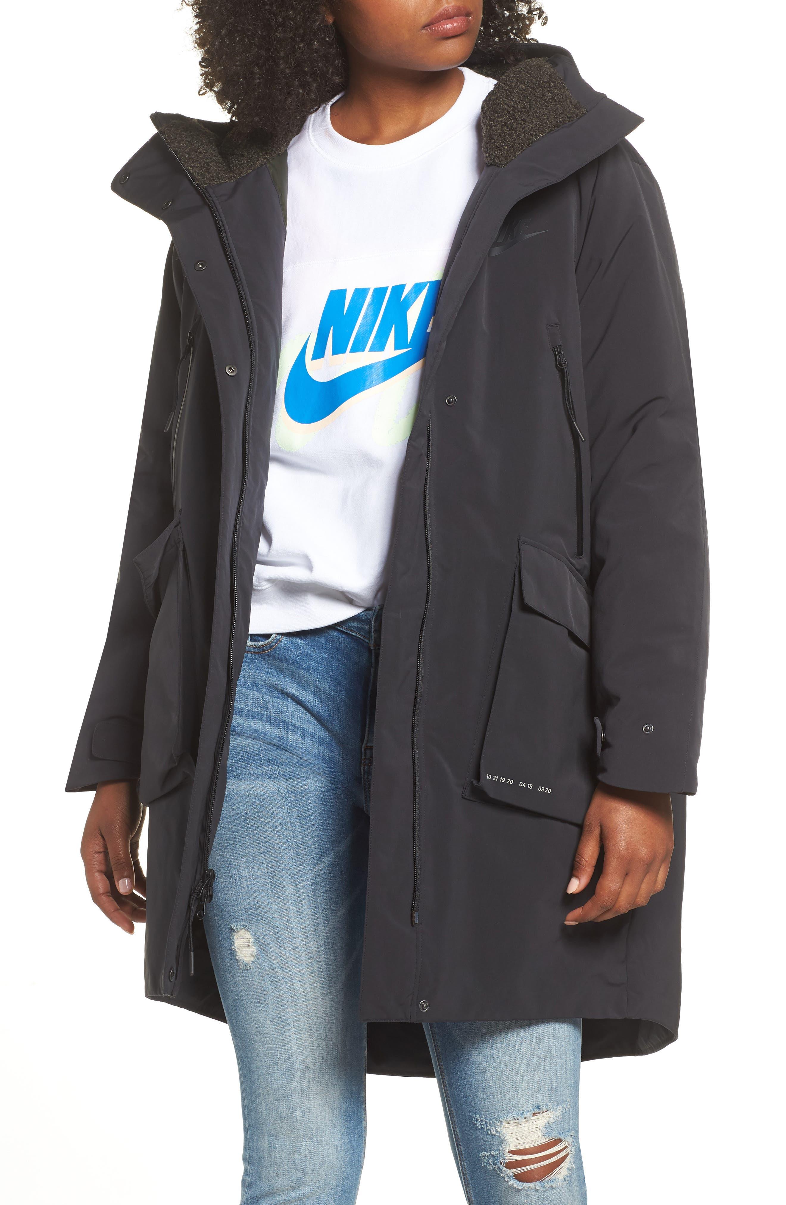 Sportswear Tech Pack Women's Down Fill Parka,                             Main thumbnail 1, color,                             BLACK/ NEWSPRINT/ BLACK