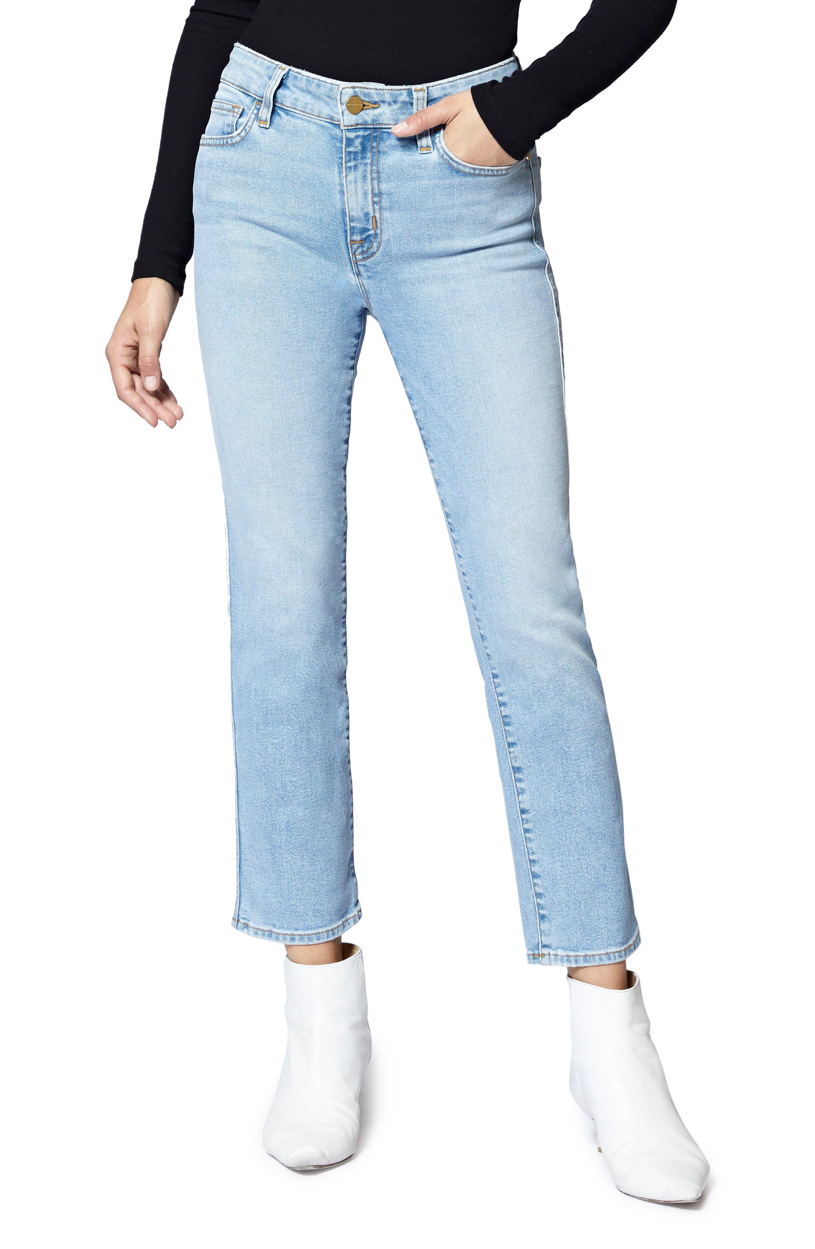 Modern Crop Straight Leg Jeans,                             Main thumbnail 1, color,                             FORUM LIGHT BLUE