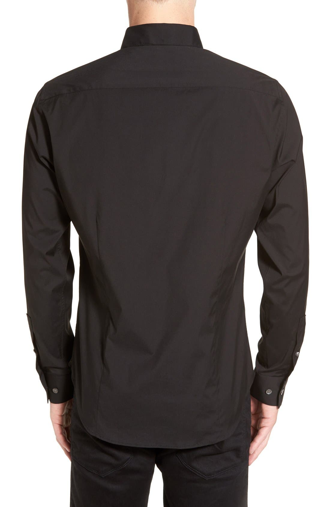 'Sylvain' Trim Fit Long Sleeve Sport Shirt,                             Alternate thumbnail 4, color,                             BLACK