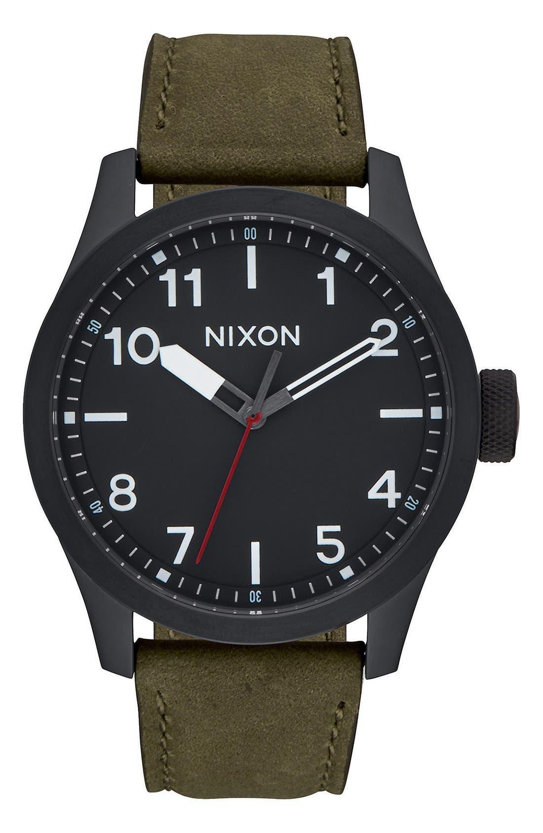'Safari' Leather Strap Watch, 43mm,                             Main thumbnail 5, color,