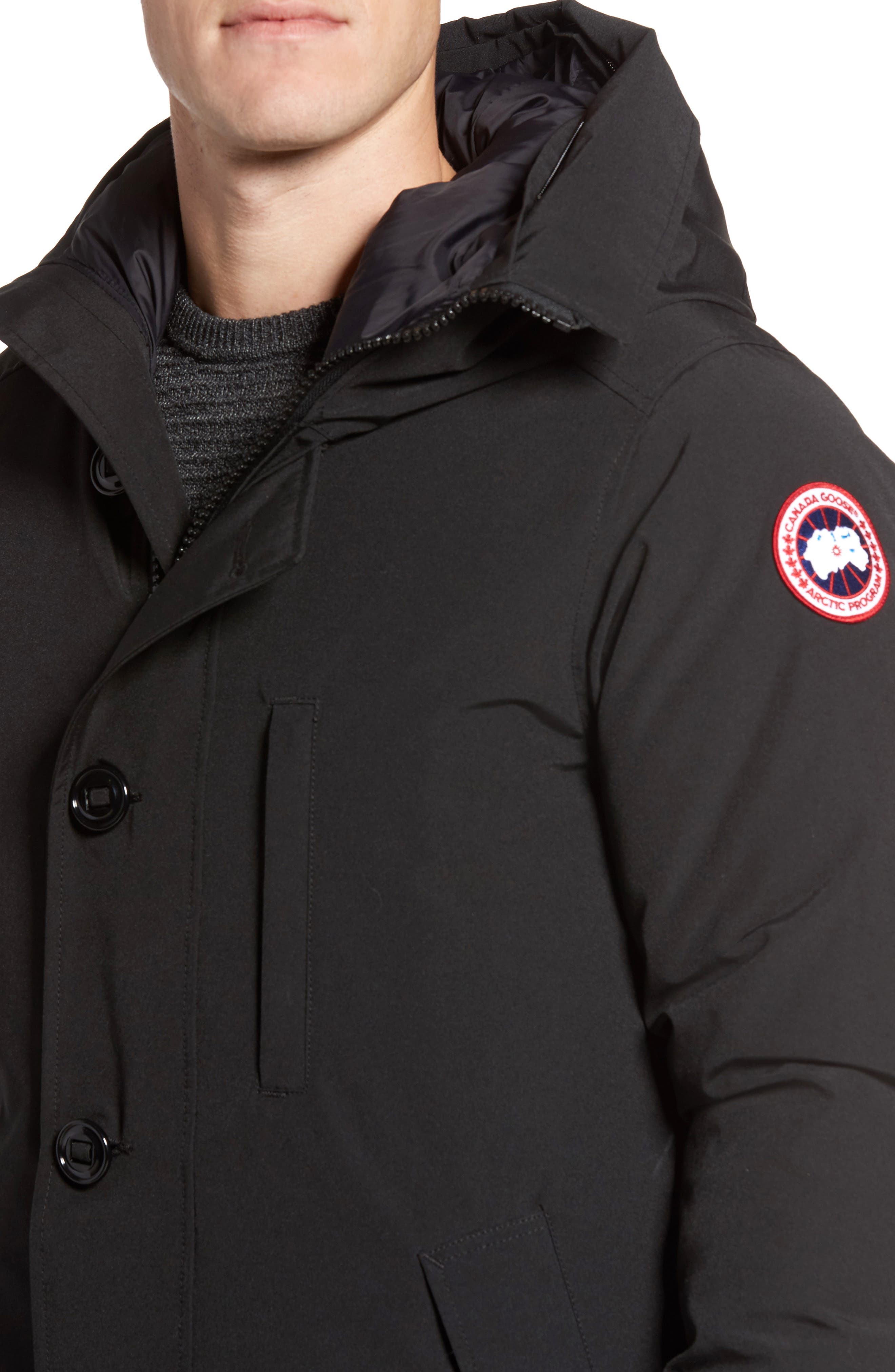 Chateau Parka with Genuine Coyote Fur Trim,                             Alternate thumbnail 4, color,                             001