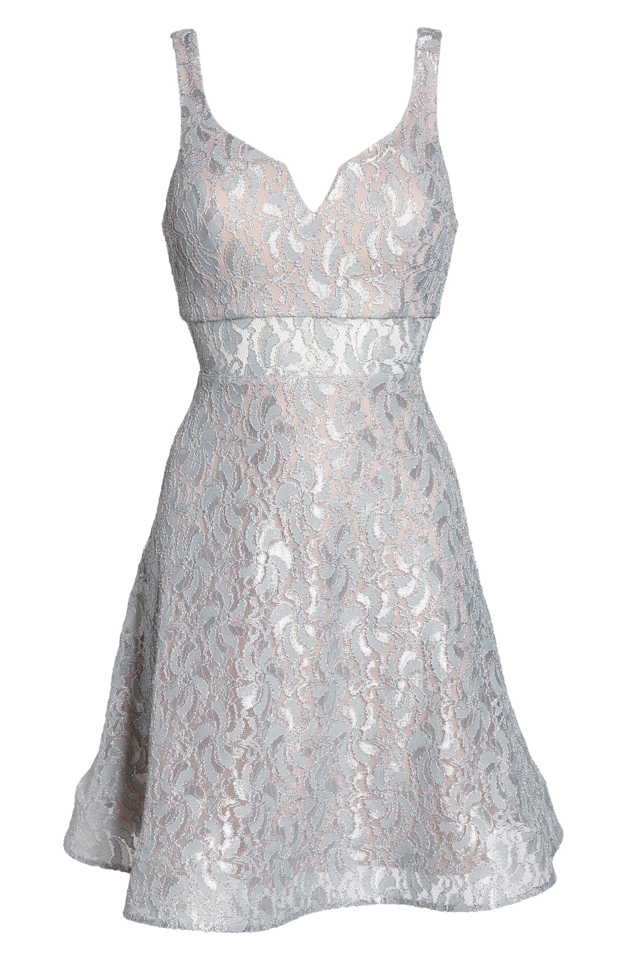 Illusion Waist Lace Fit & Flare Dress,                             Alternate thumbnail 6, color,                             040