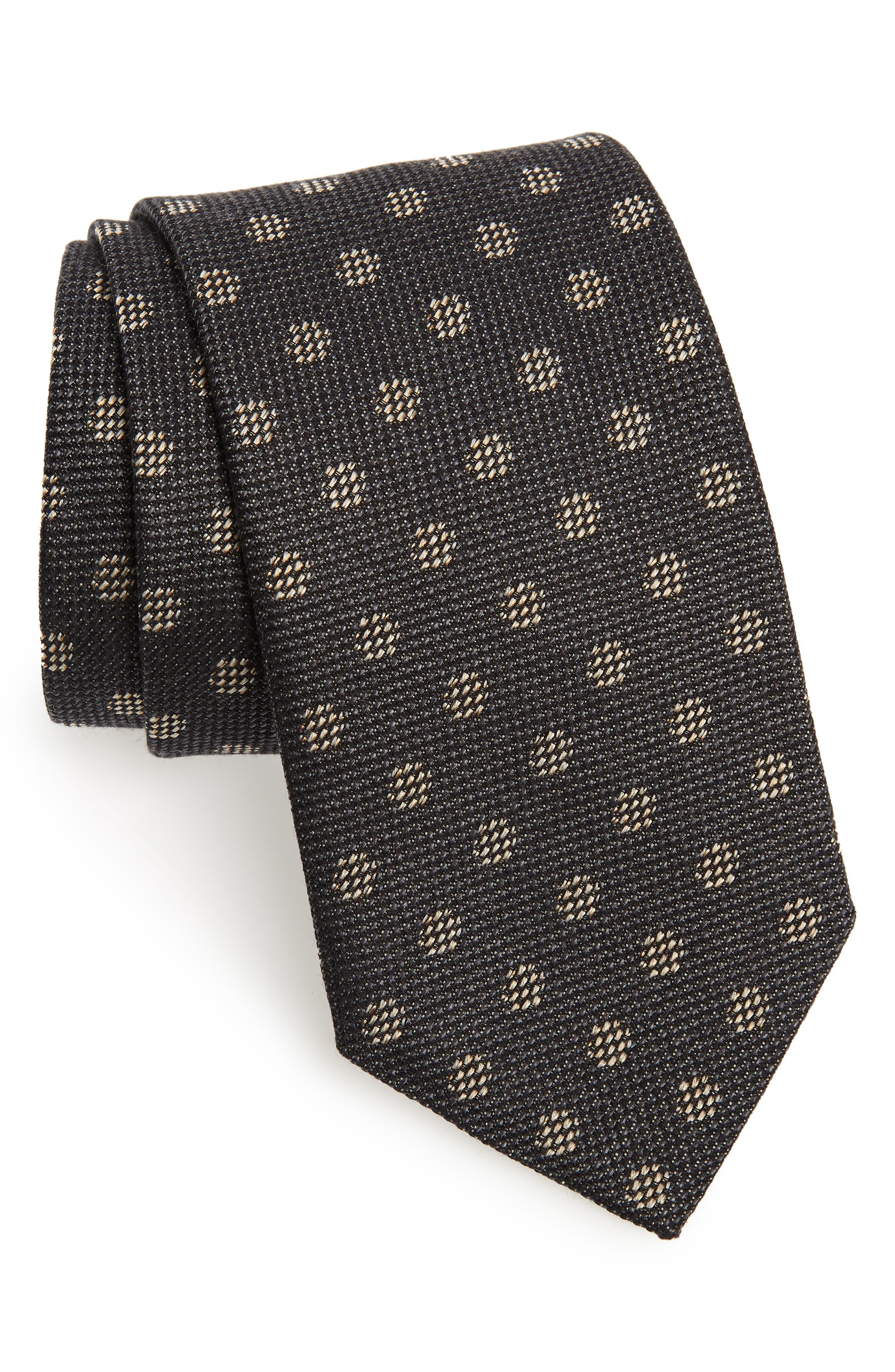 Dot Silk & Cotton Tie,                             Main thumbnail 1, color,                             CHARCOAL