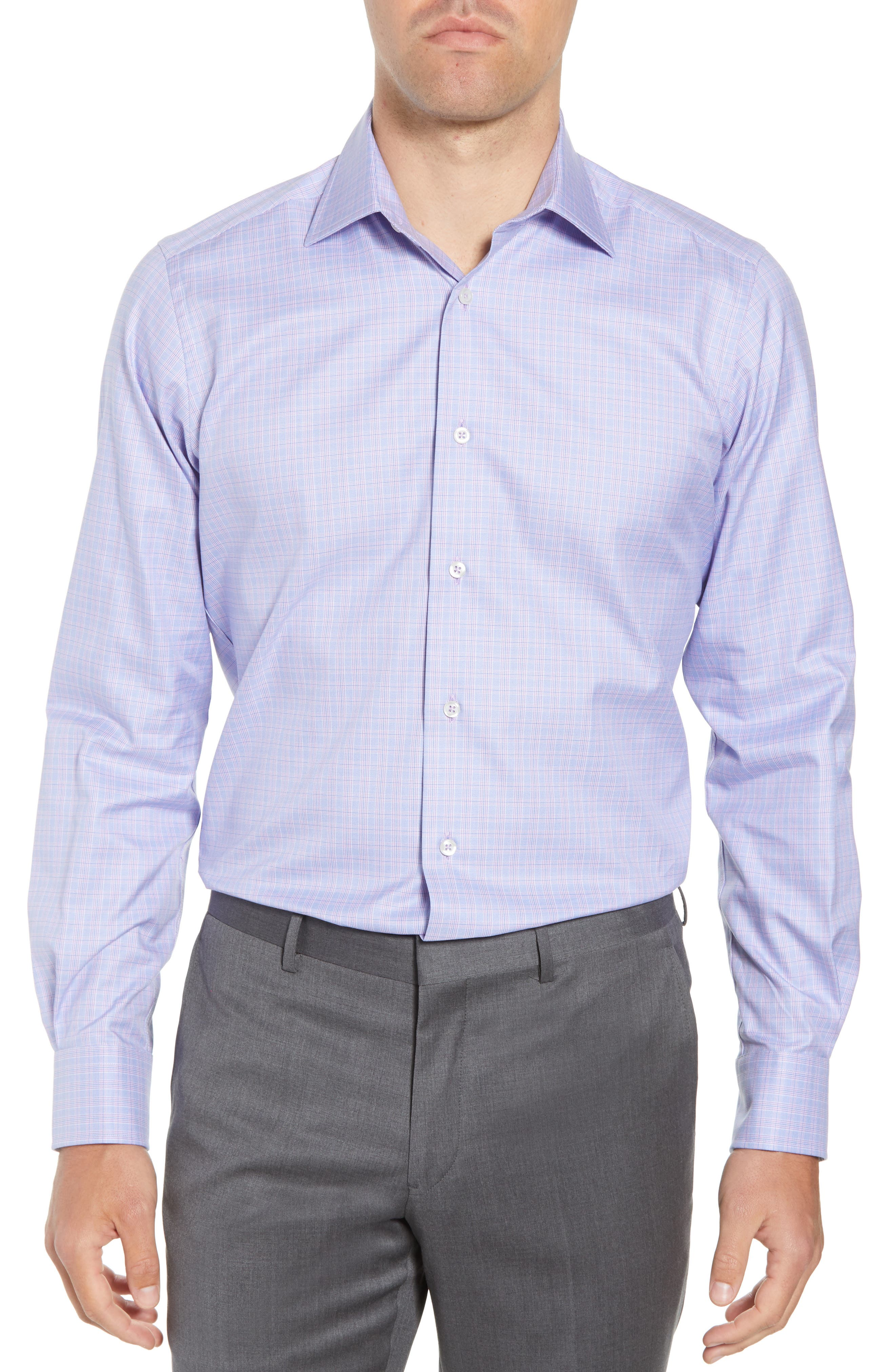 Trim Fit Plaid Dress Shirt,                         Main,                         color, LILAC