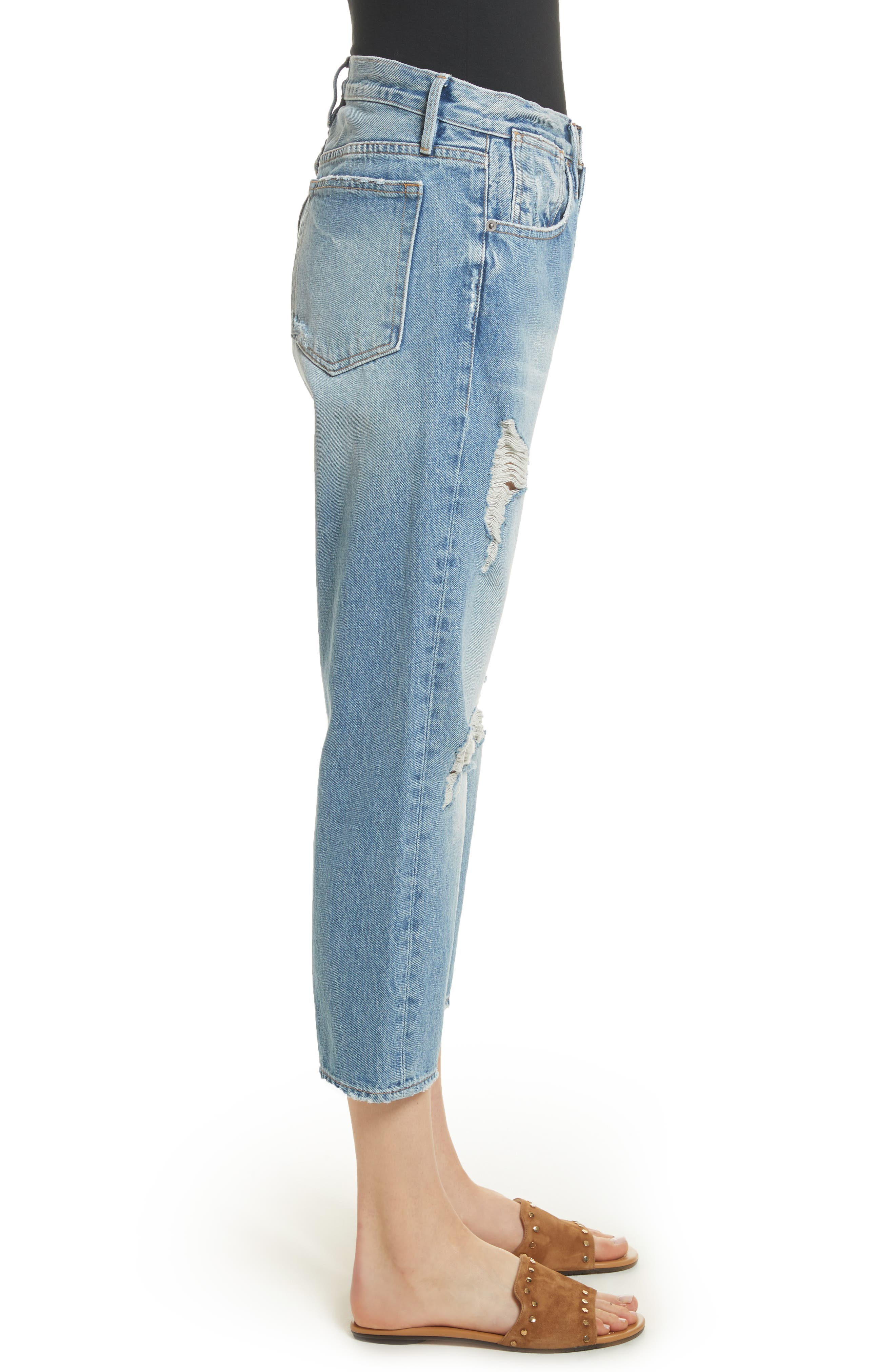 Le Stevie Distressed Crop Jeans,                             Alternate thumbnail 3, color,                             420